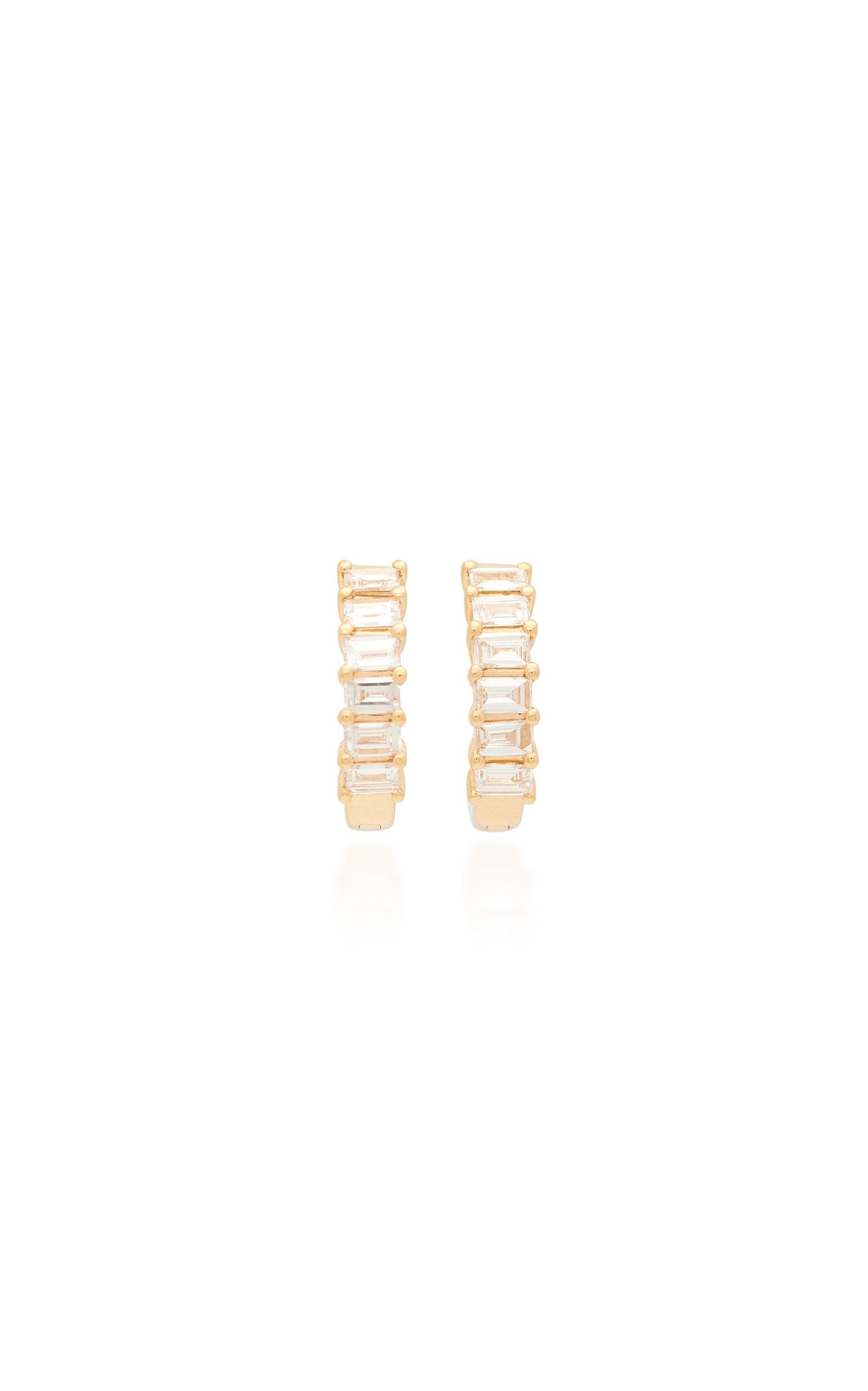 Ef Collection Earrings WOMEN'S 14K GOLD DIAMOND BAGUETTE HUGGIE EARRINGS
