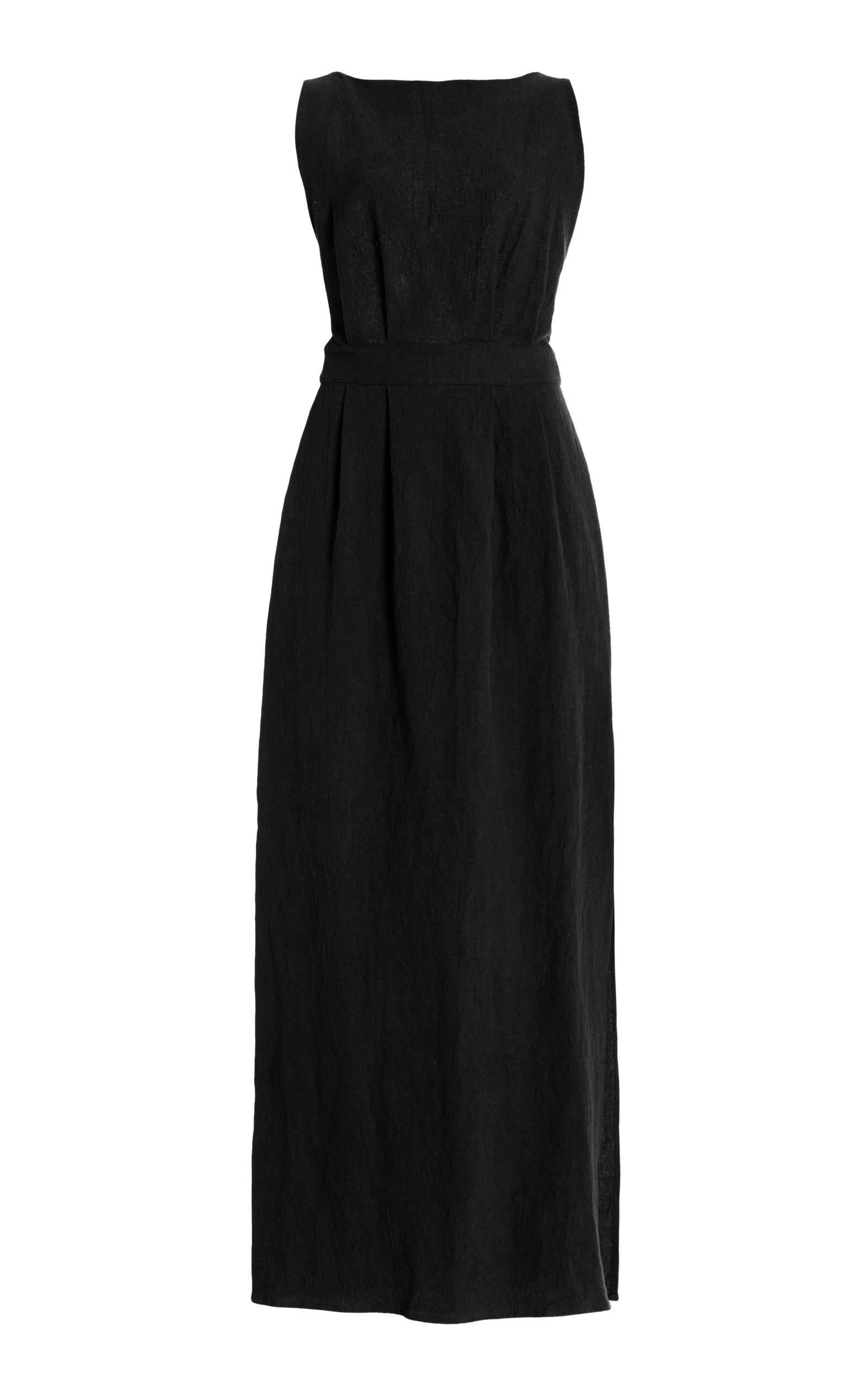 Women's Backless Textured Linen Maxi Dress