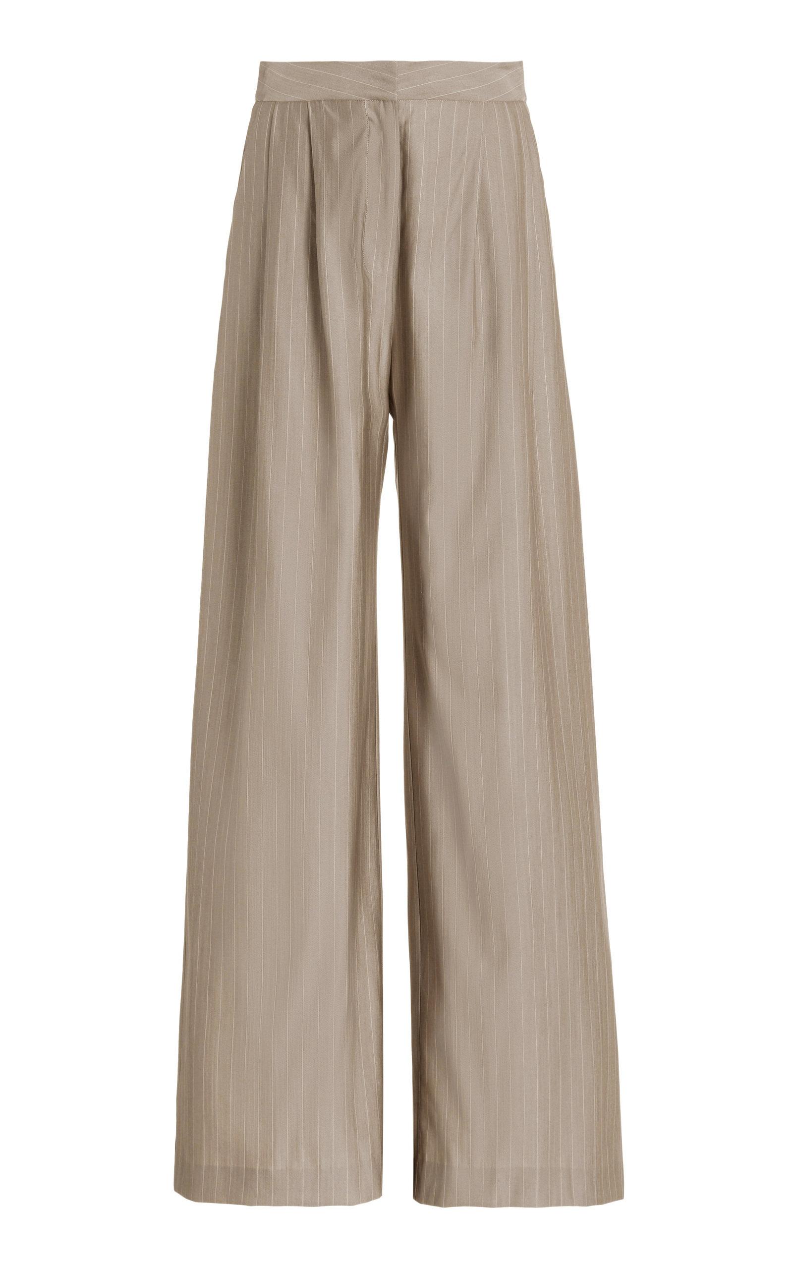 Women's Pleated Pinstriped Wool Wide-Leg Trousers