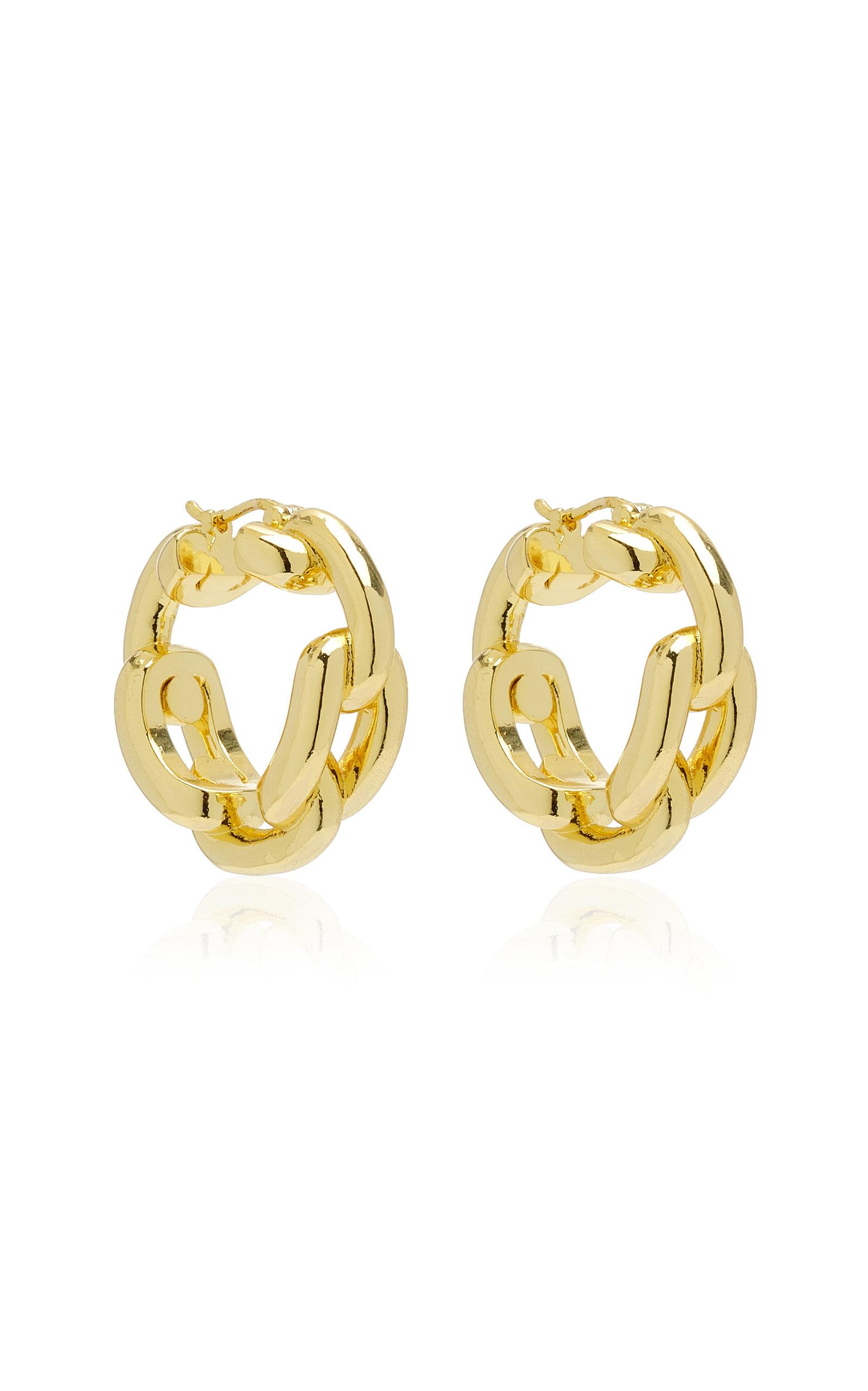 Emili - Women's Rory 14K Gold-Plated Hoop Earrings - Gold - Moda Operandi