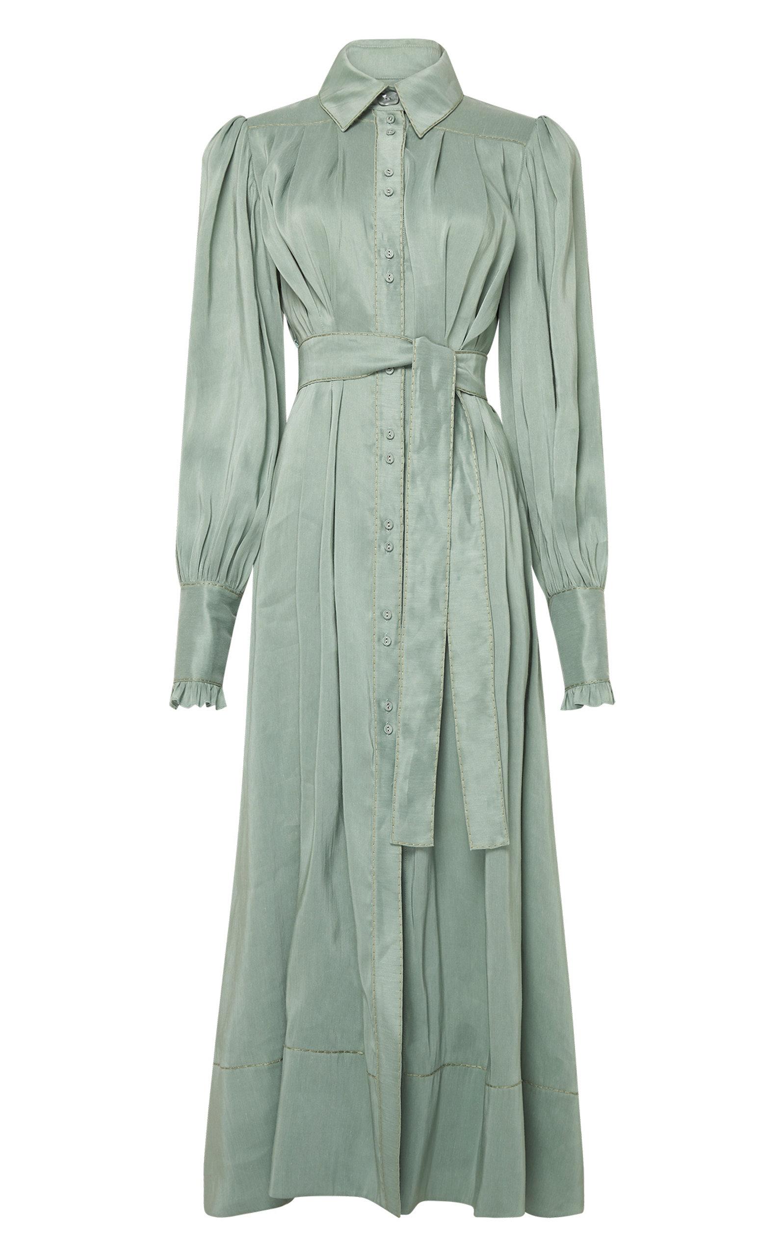- Women's Idealist Belted Linen-Silk Shirt Dress