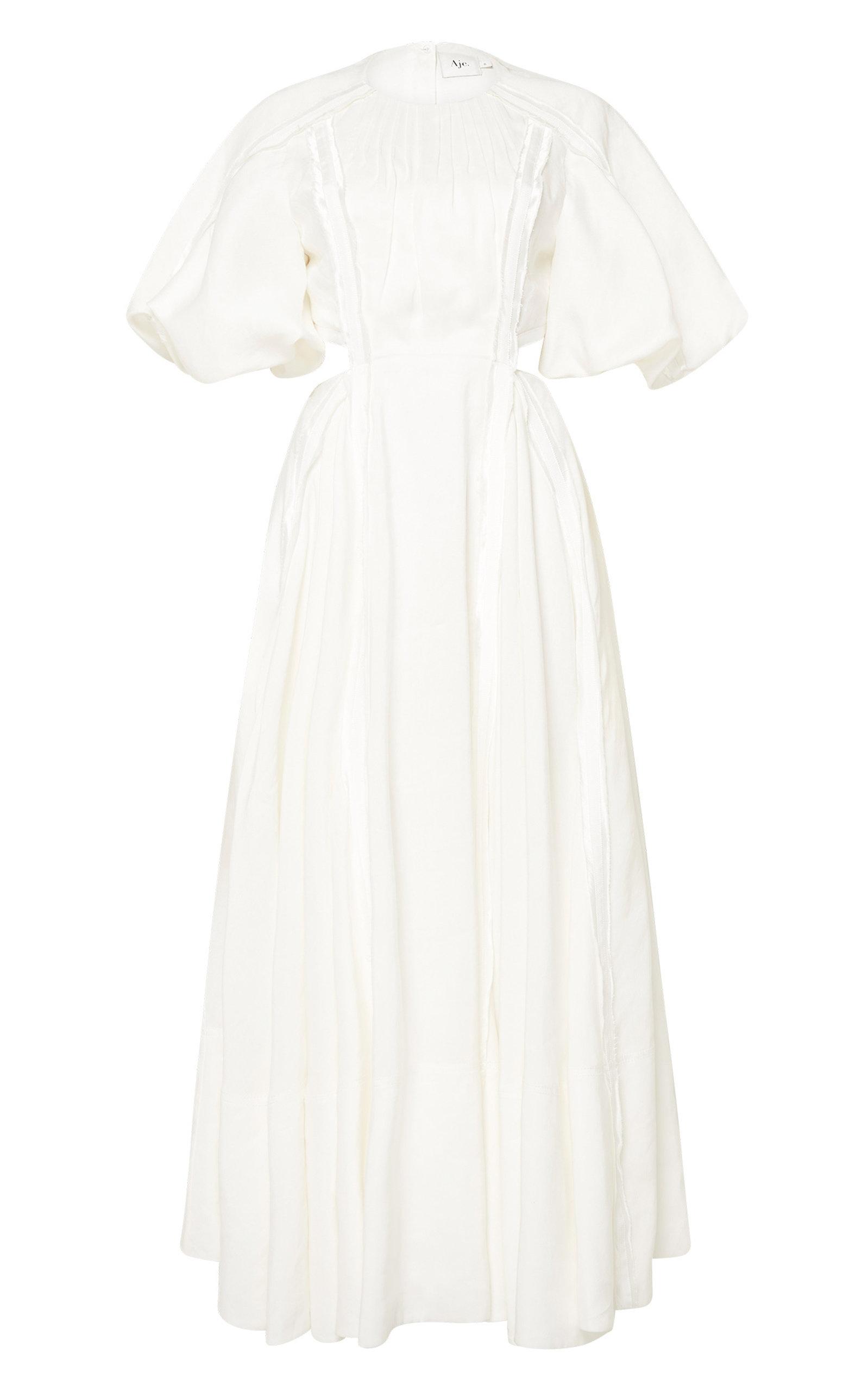 - Women's Revitalize Cutout Linen-Blend Midi Dress
