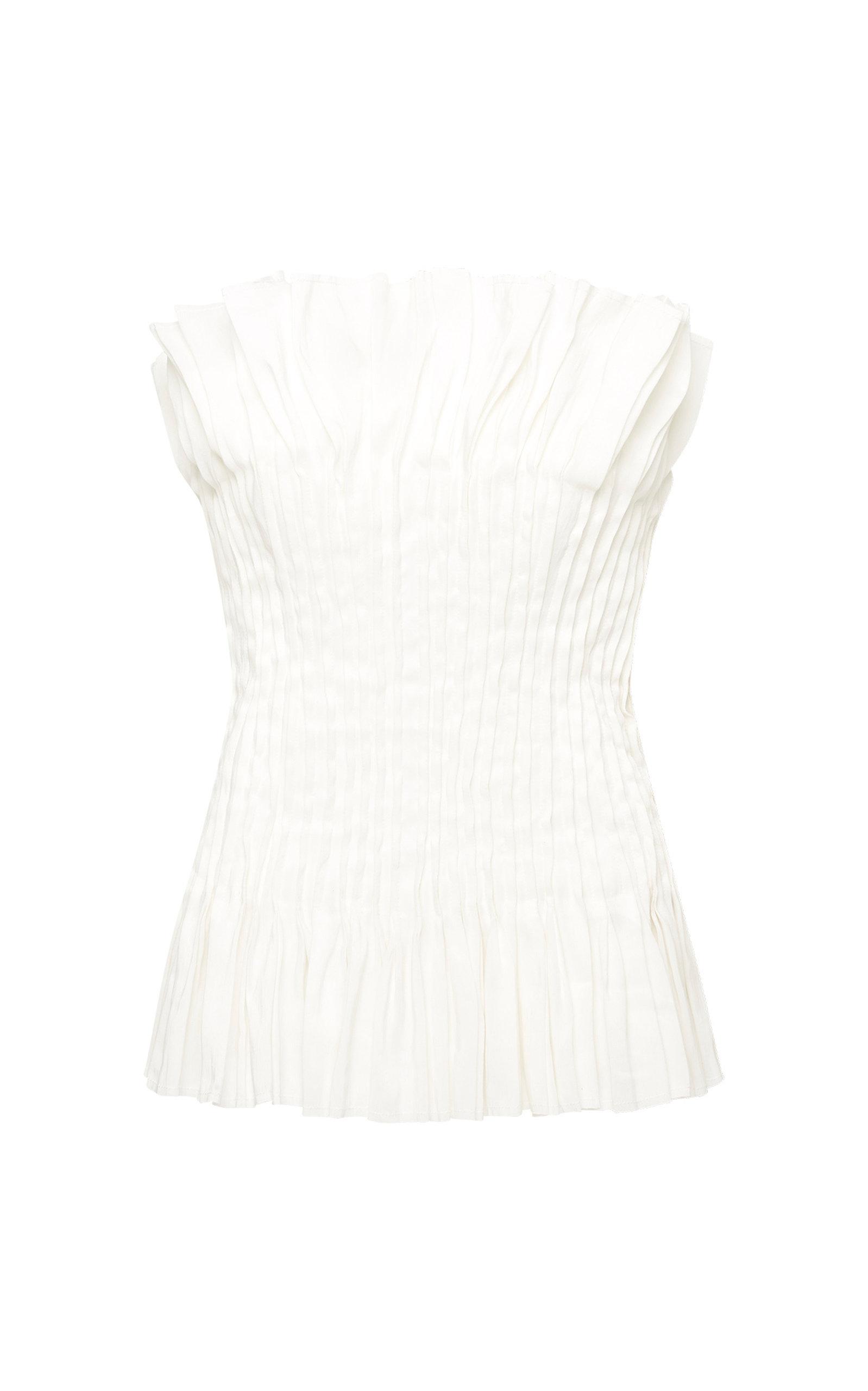 - Women's Utopia Pin-Tucked Linen-Blend Corset Top