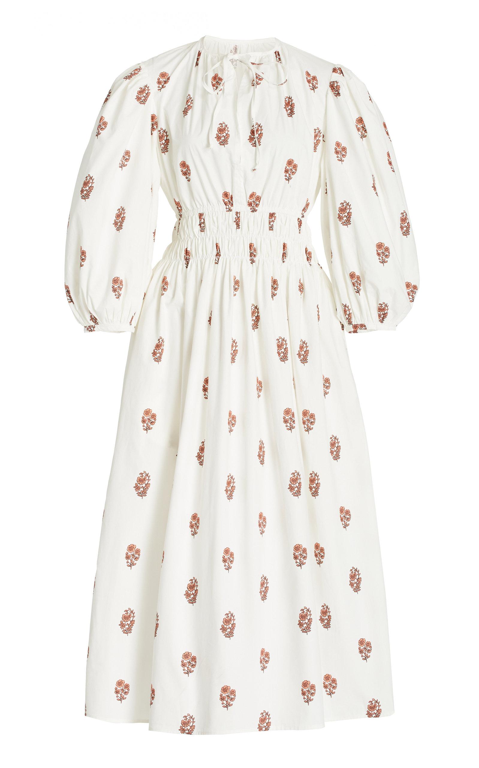 Women's Georgina Smocked Floral Cotton Midi Dress