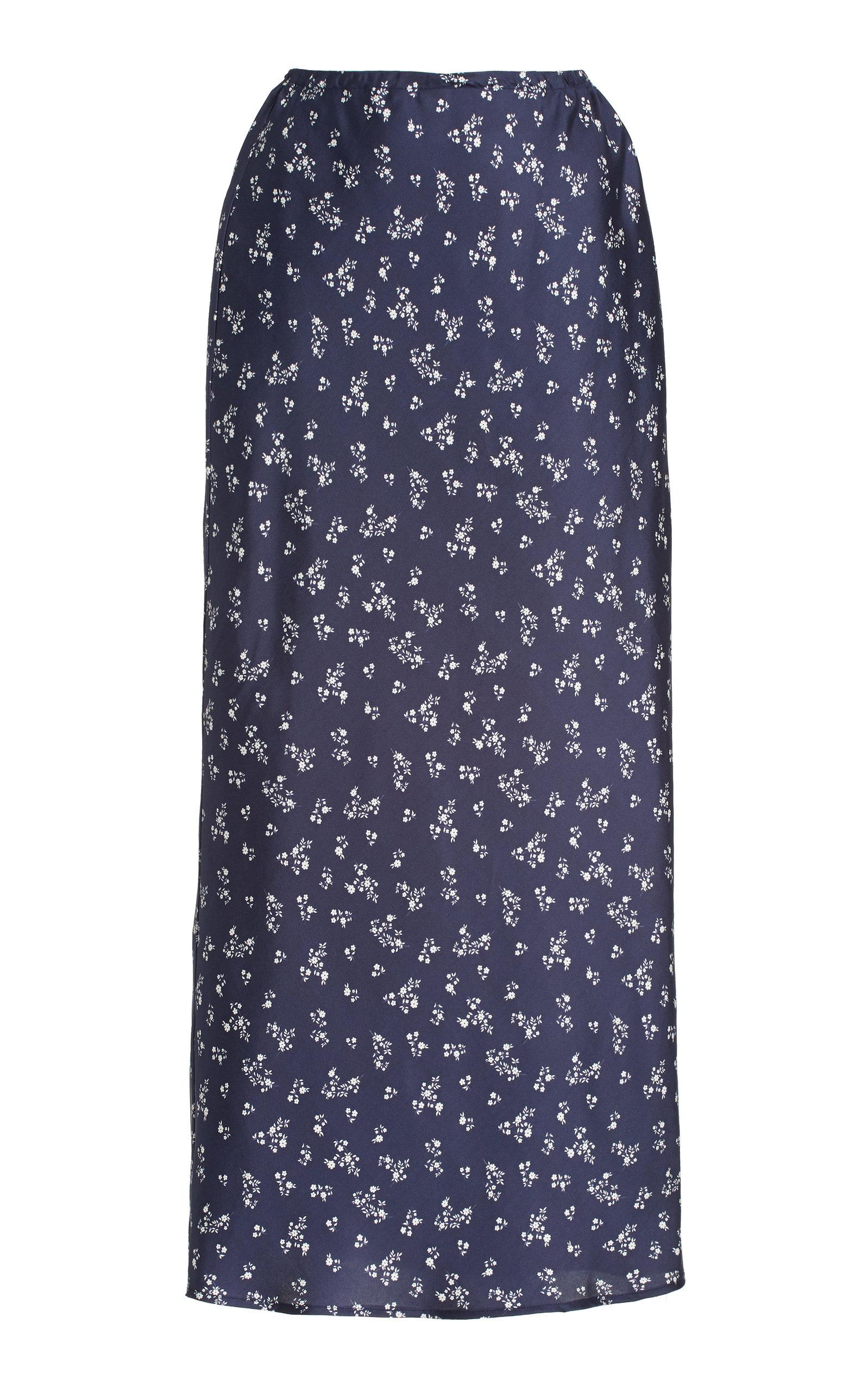 Women's Concetta Floral Silk Midi Slip Skirt