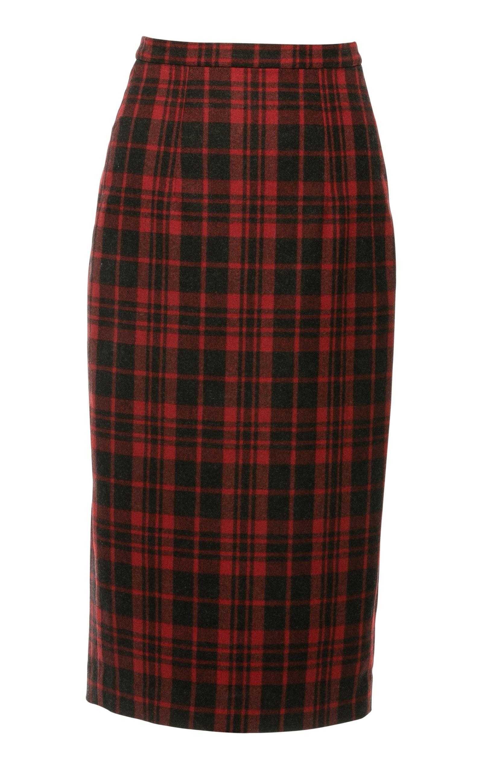 Women's Elinor Wool-Blend Plaid Midi Pencil Skirt