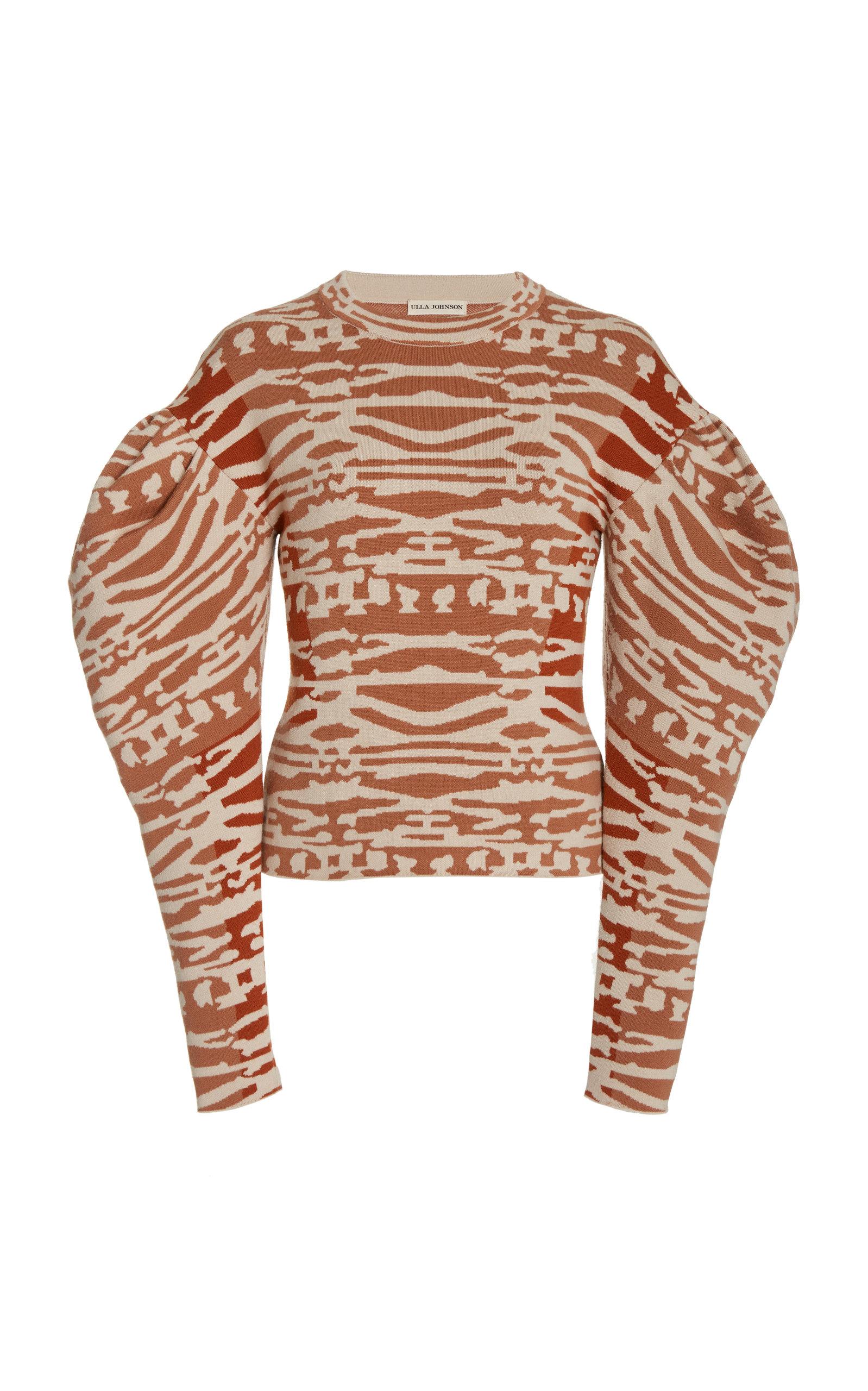 Ulla Johnson Women's Livia Jacquard-wool Pullover Sweater In Orange
