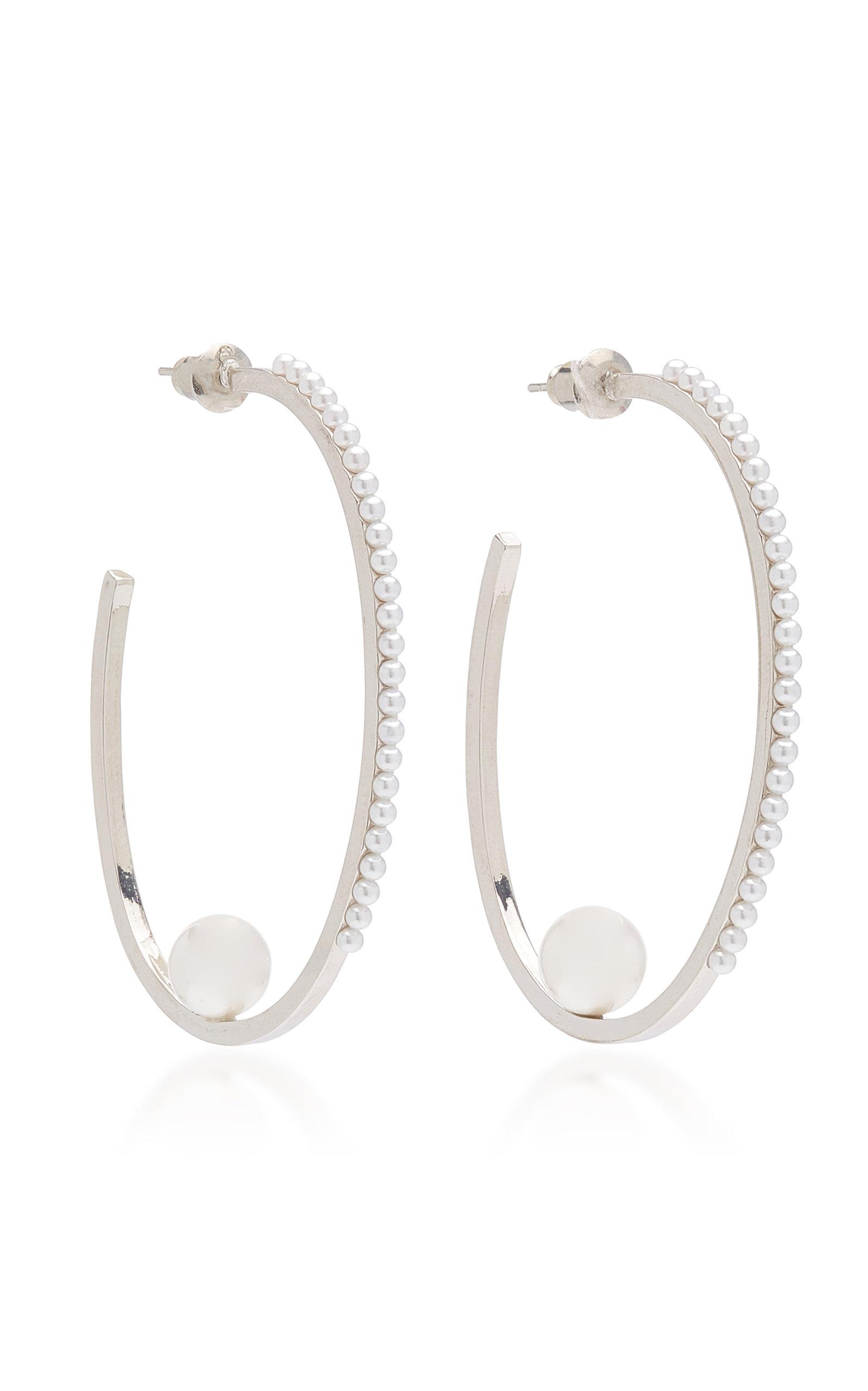 Women's Rhodium-Plated Pearl Hoop Earrings