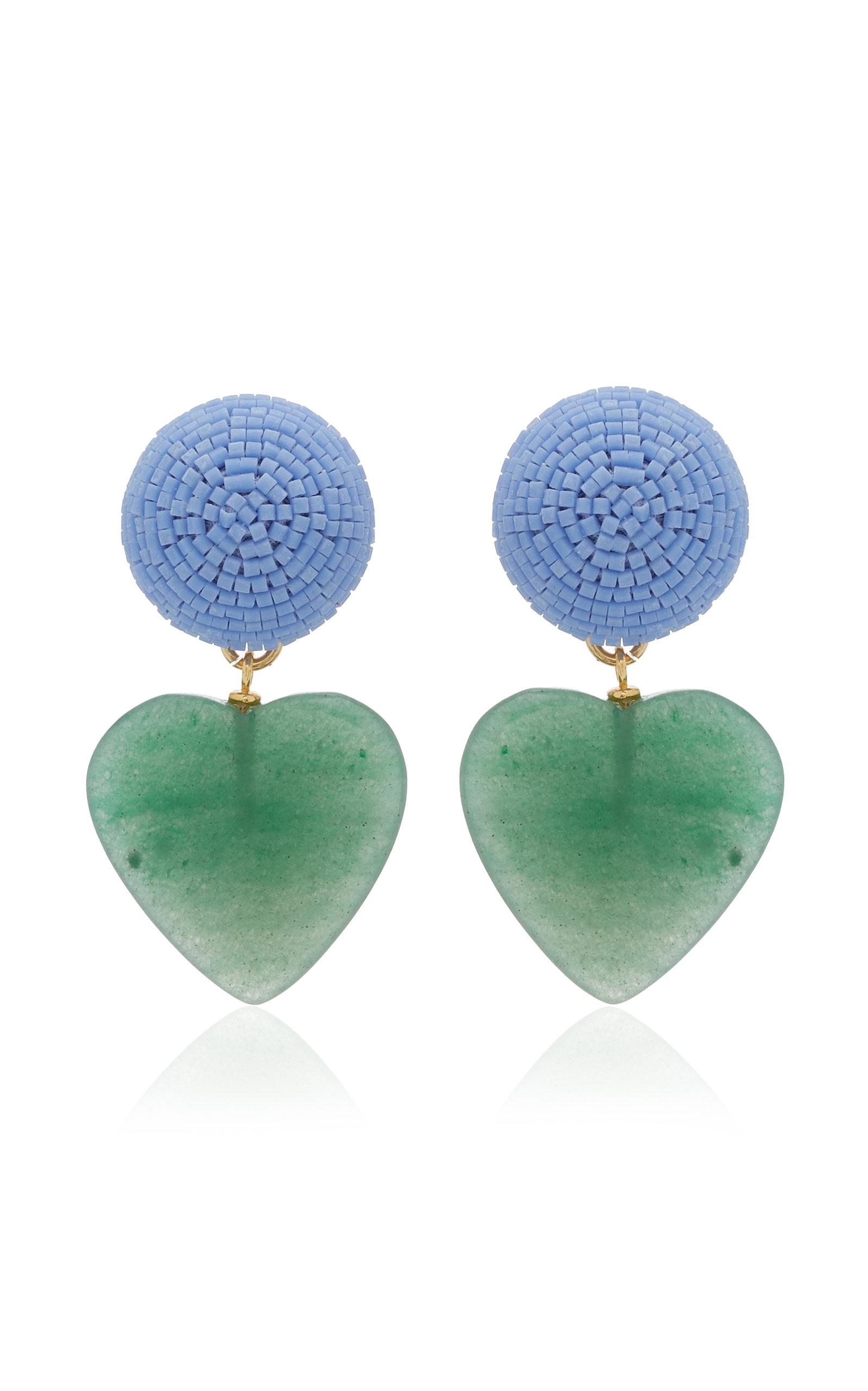 Women's Blue Crush Beaded Gold-Plated Quartz Earrings