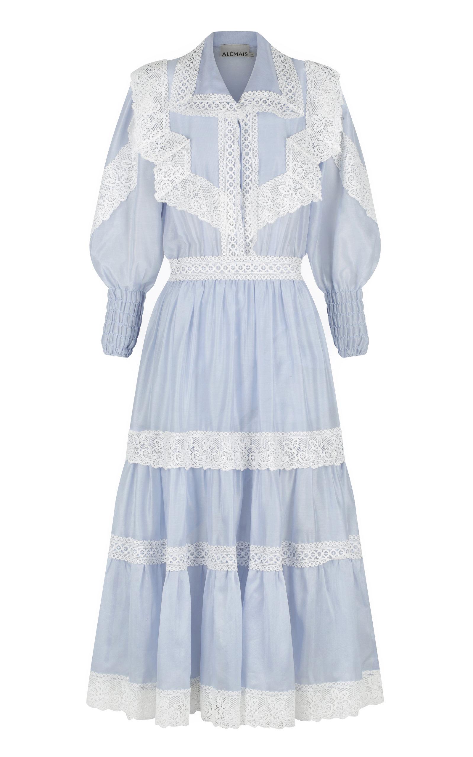 Women's Mara Lace-Detailed Silk-Cotton Midi Dress
