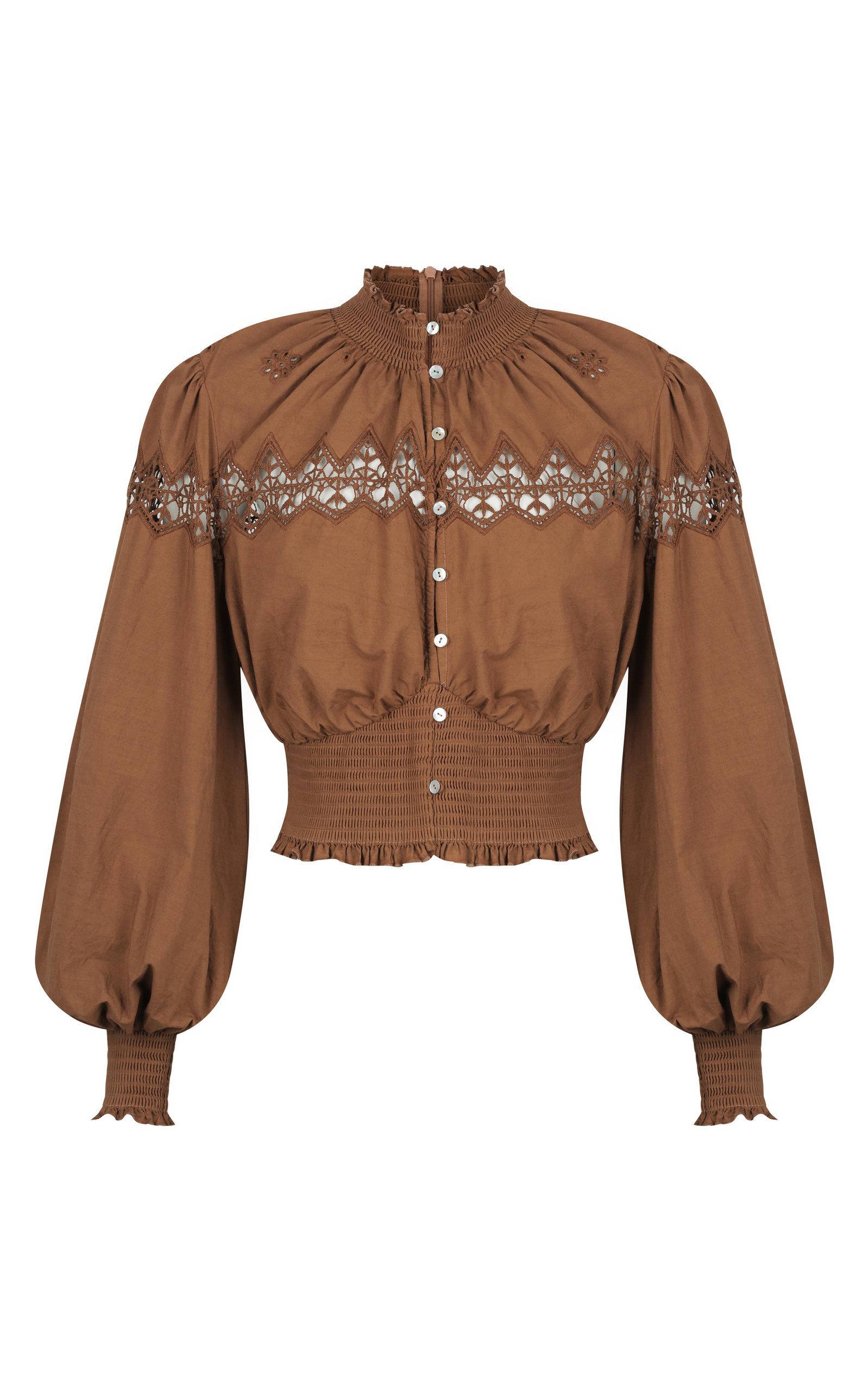 ALÉMAIS - Women's Julietta Lace-Detailed Cotton Top - Brown - Moda Operandi