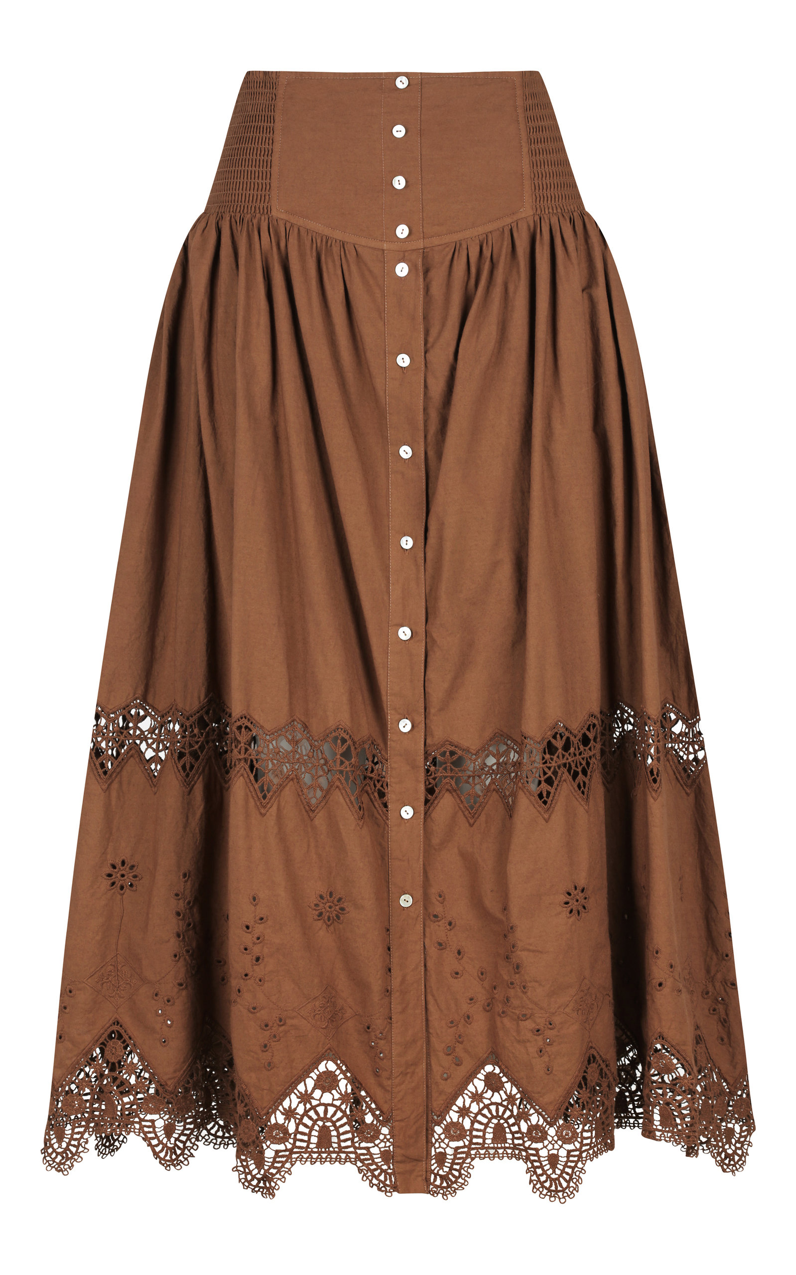 ALÉMAIS - Women's Julietta Cotton Midi Skirt - Brown - Moda Operandi