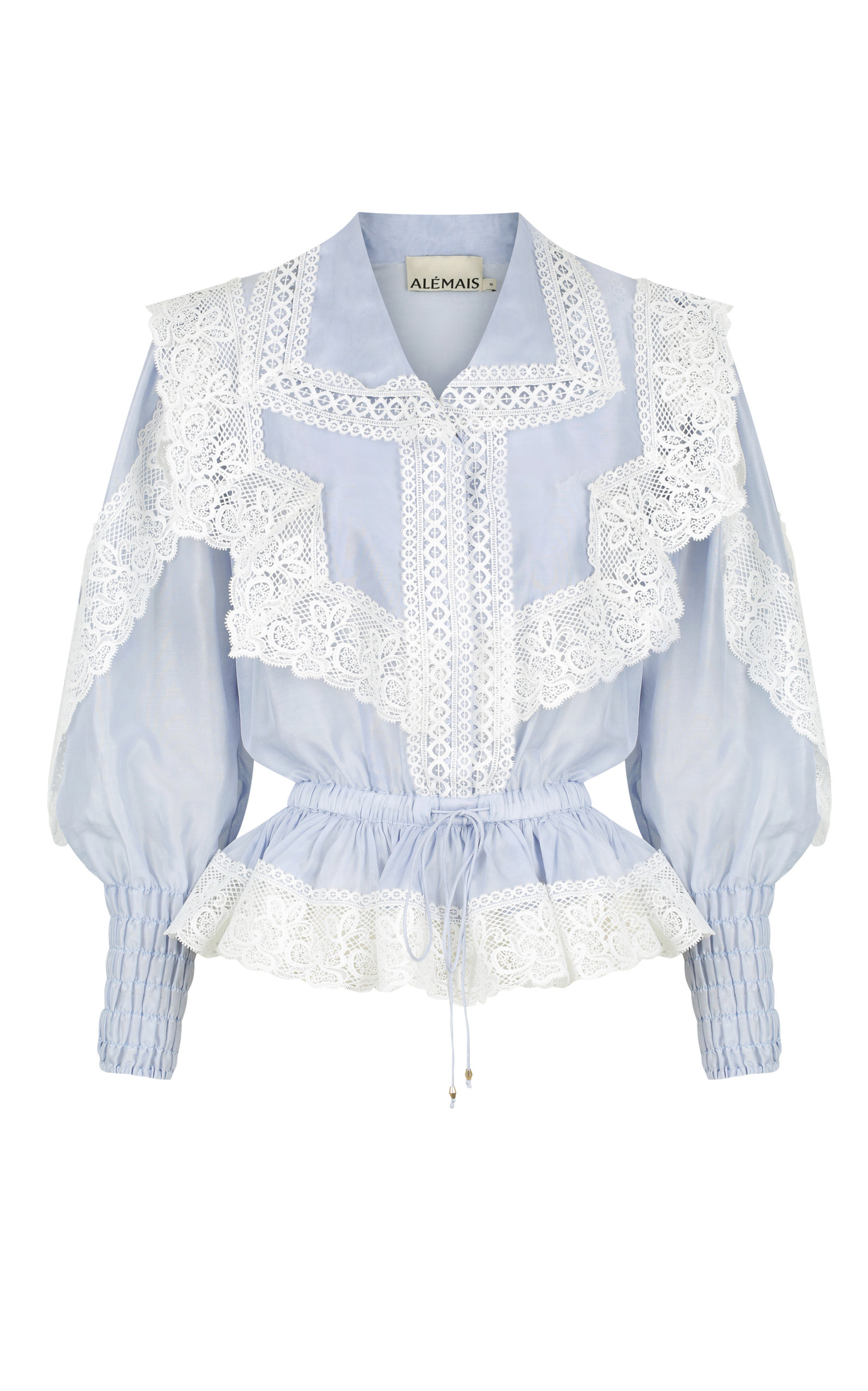 Women's Mara Lace-Detailed Silk-Cotton Top