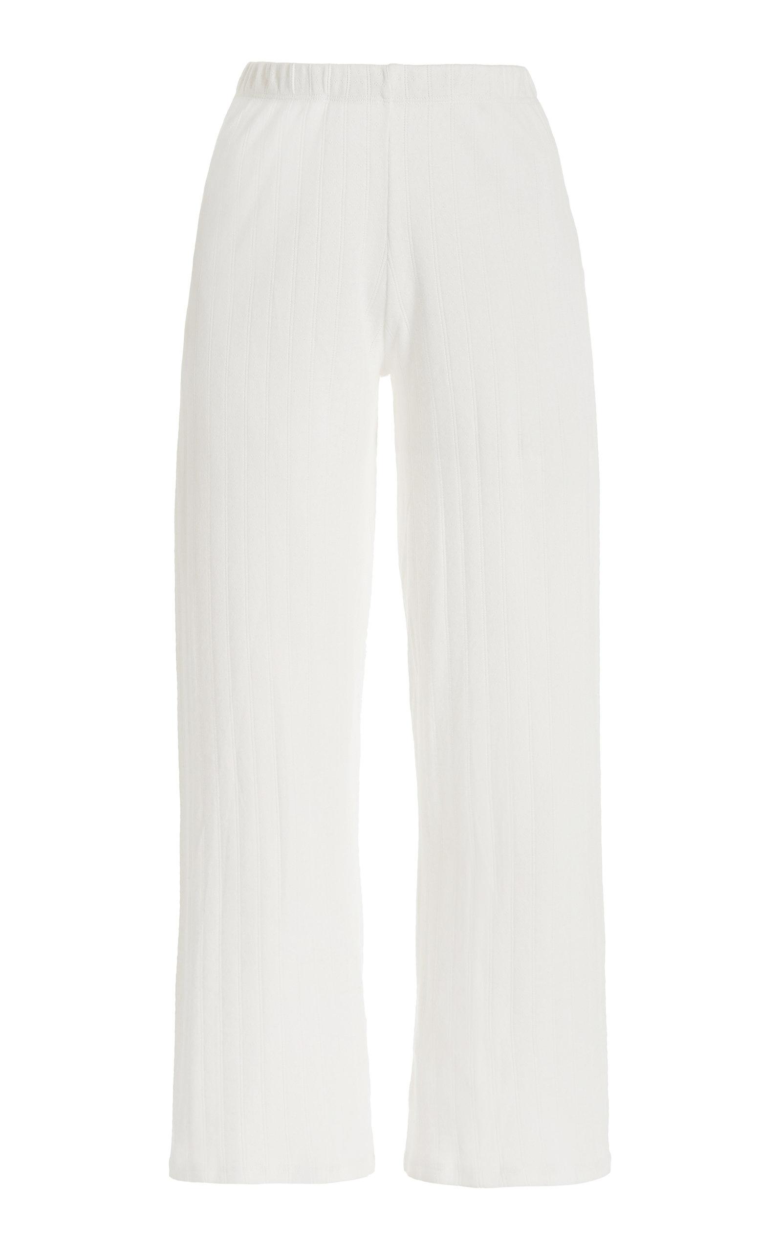 Women's Pointelle Burnout Cropped Cotton Pants