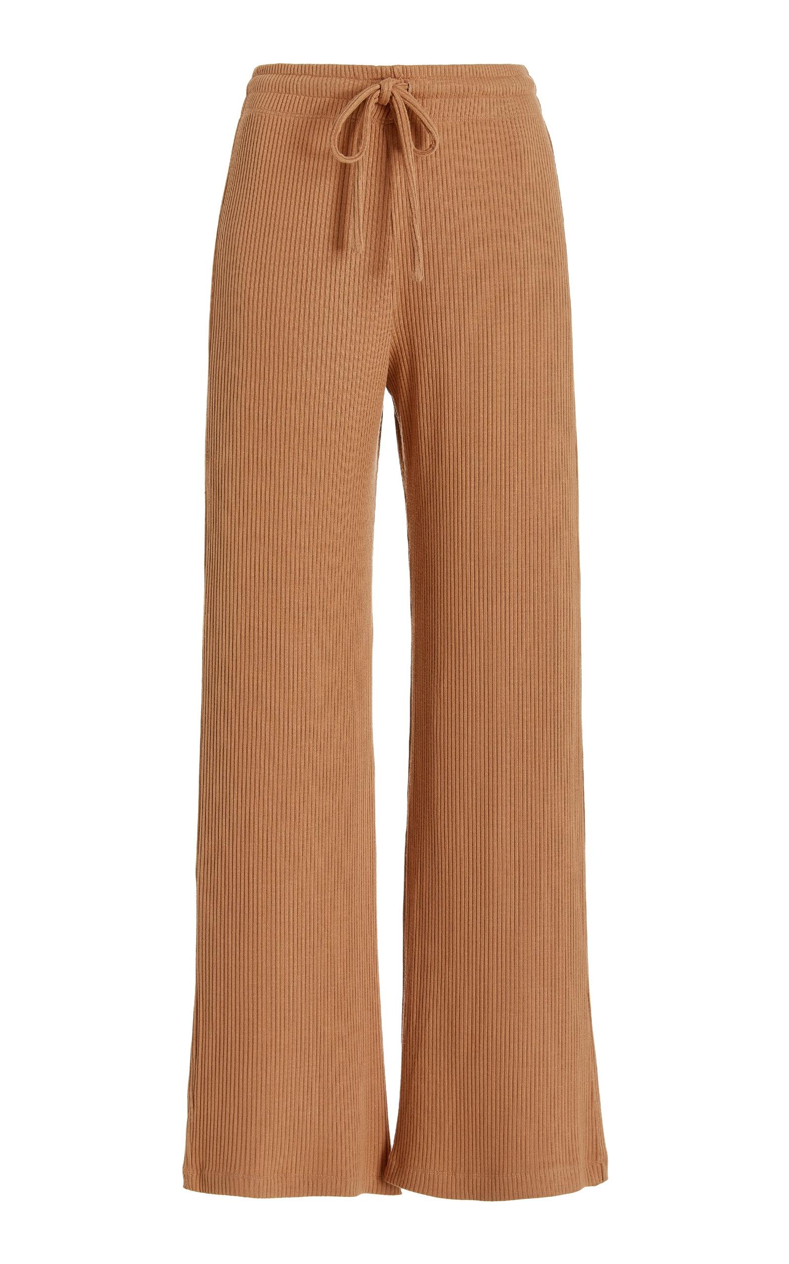 Women's Ali Drawstring Wide-Leg Ribbed Knit Pants