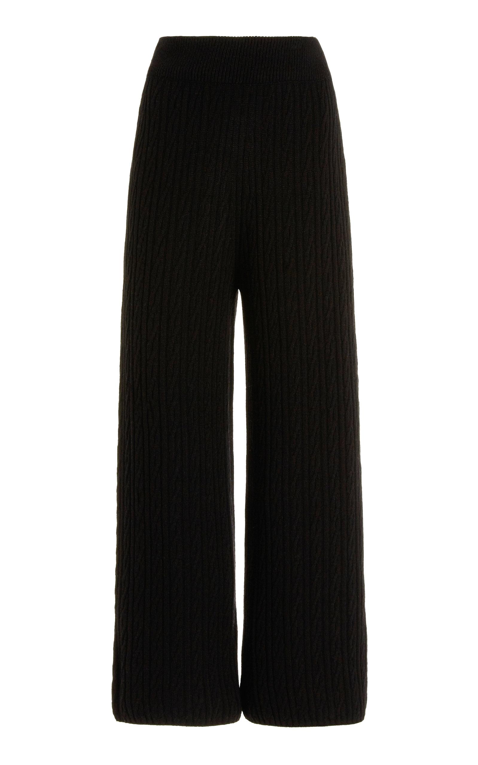 Women's Zoe Cable-Knit Wide-Leg Wool-Blend Pants