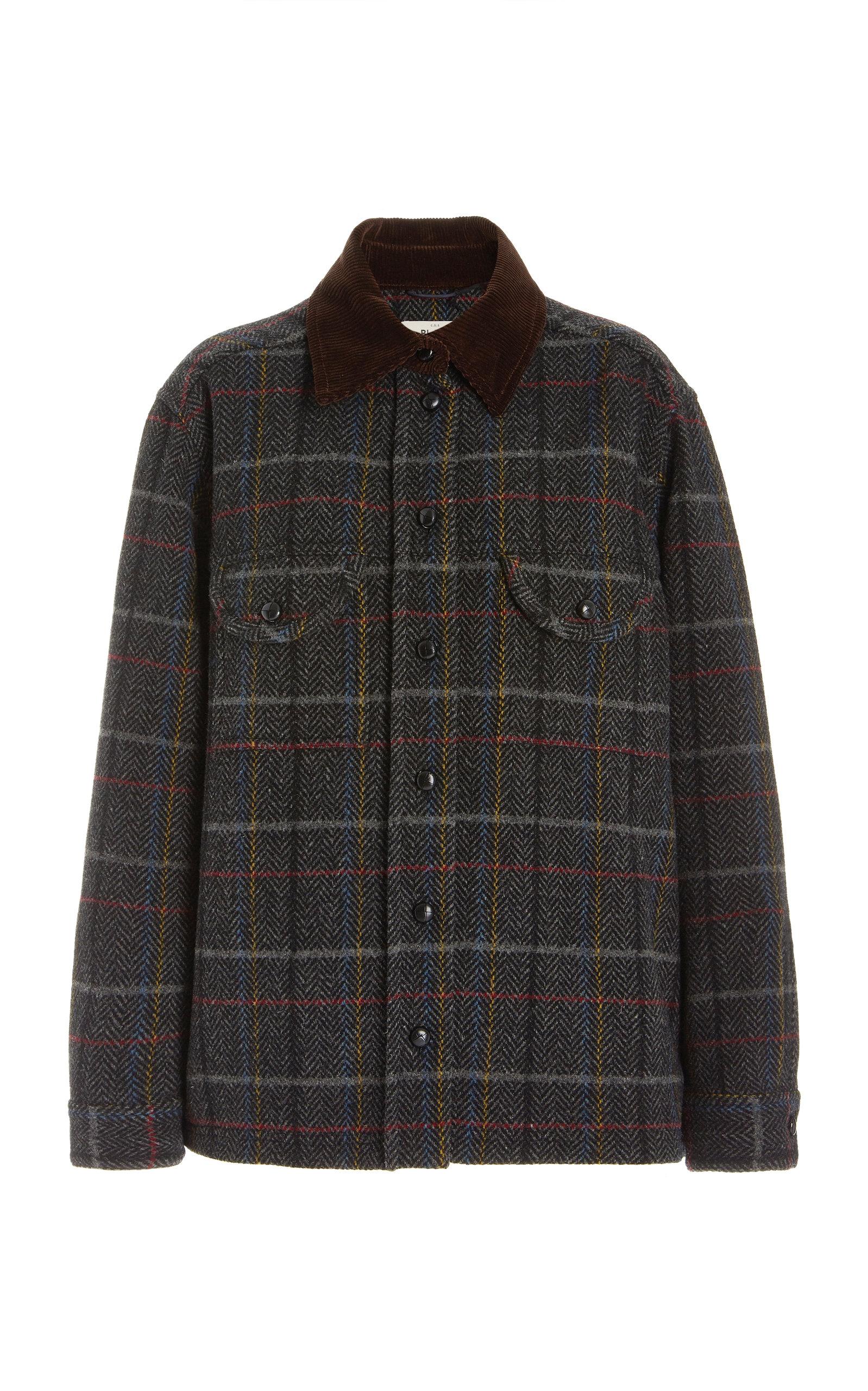 Women's Berber Checked Wool Shirt Jacket