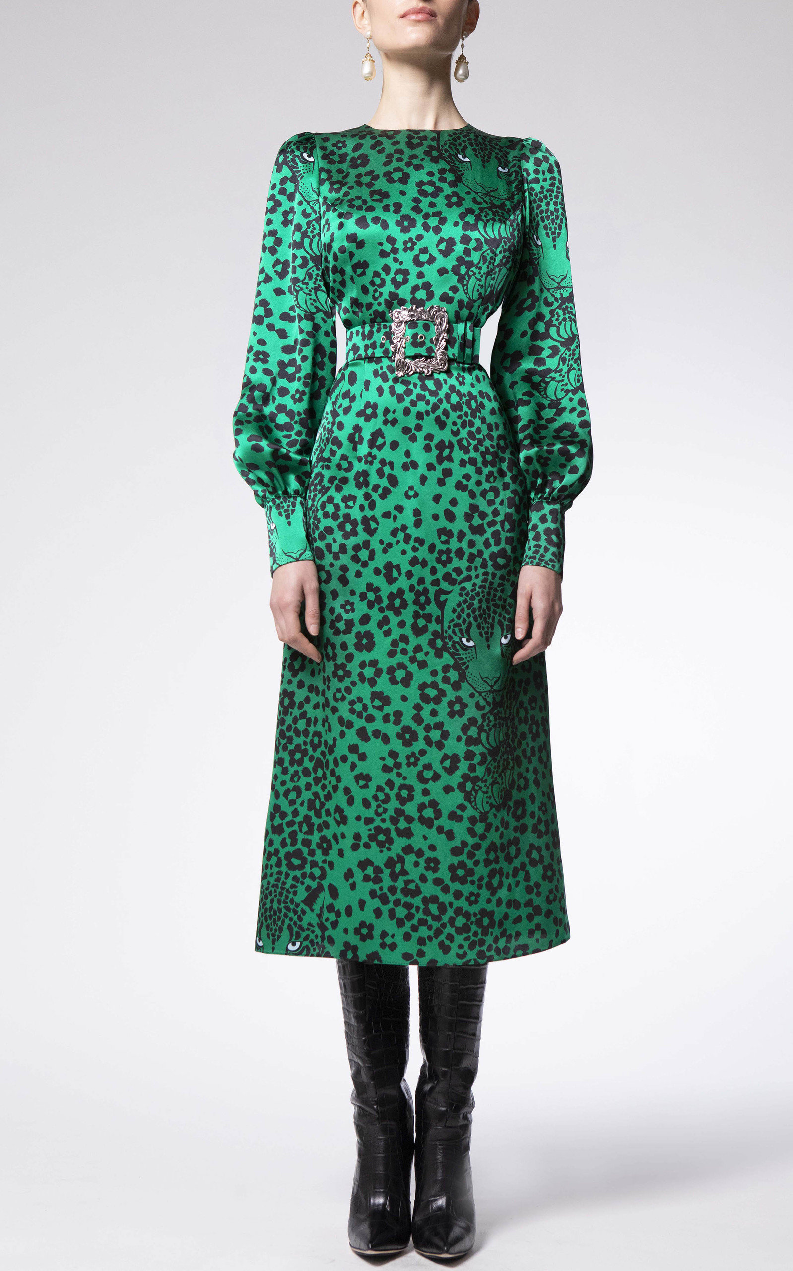 Women's Animal-Printed Silk Dress