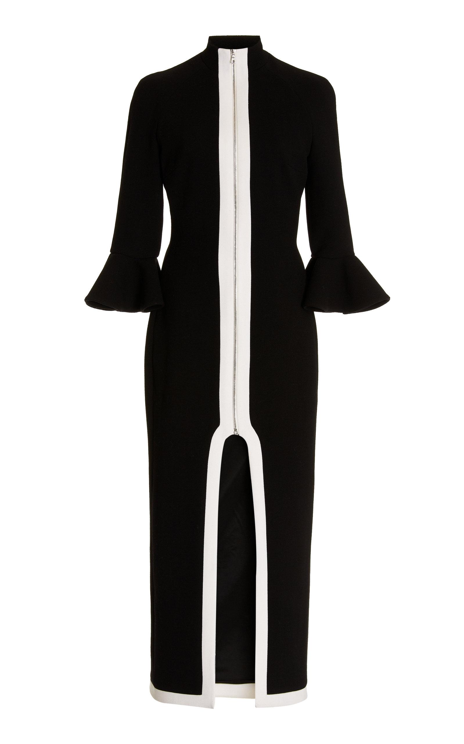 Women's Back Cutout Virgin Wool Midi Dress