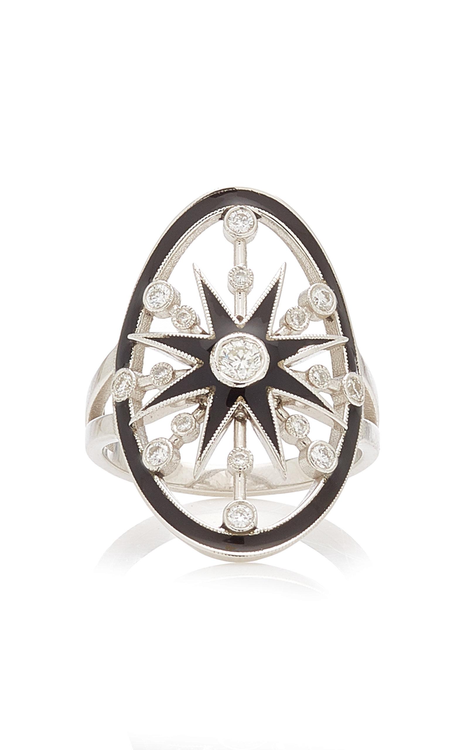Women's Danvou Enameled 18K White Gold Diamond Ring