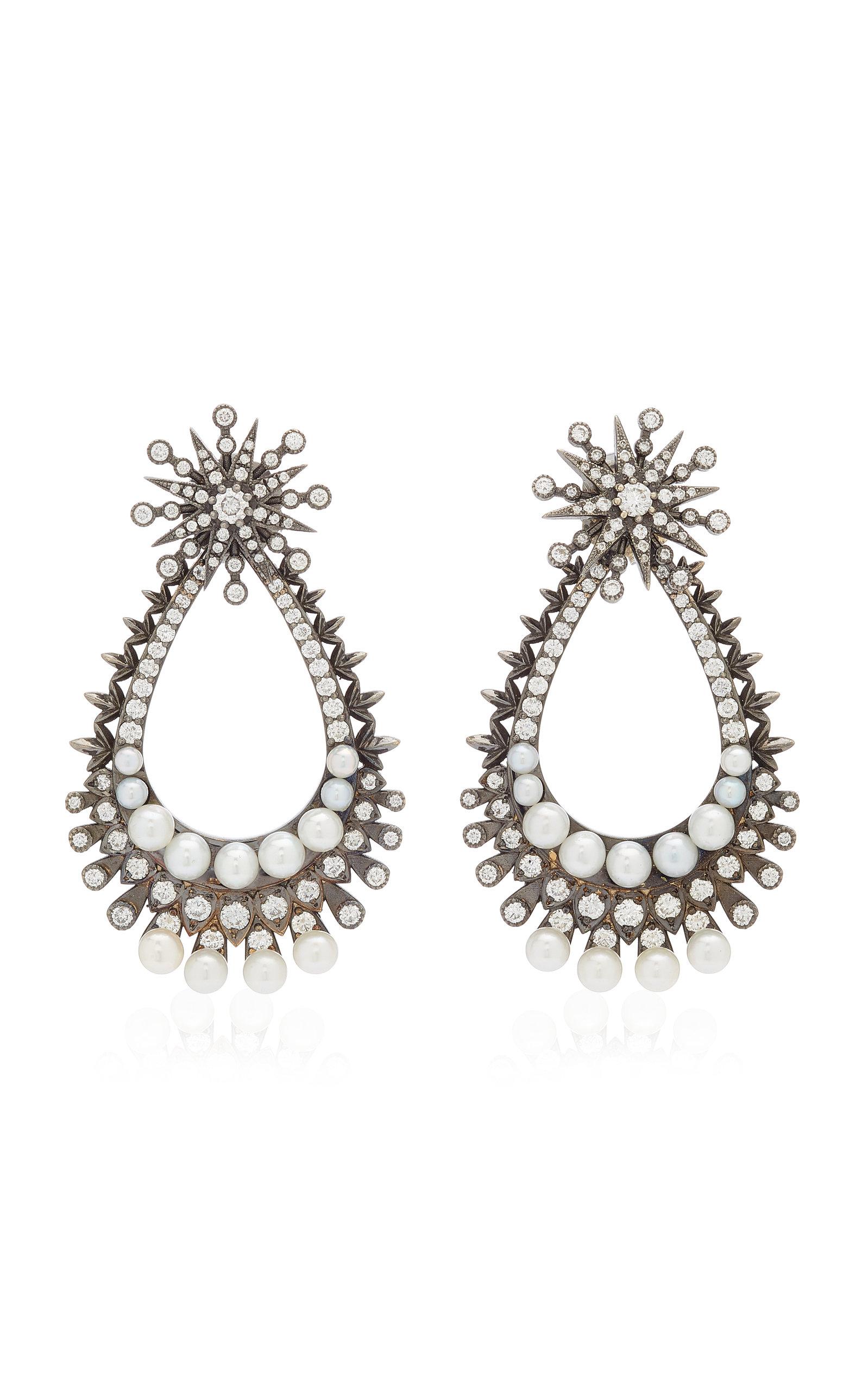 Women's Perseus Convertible 18K Black Gold Diamond; Pearl Earrings
