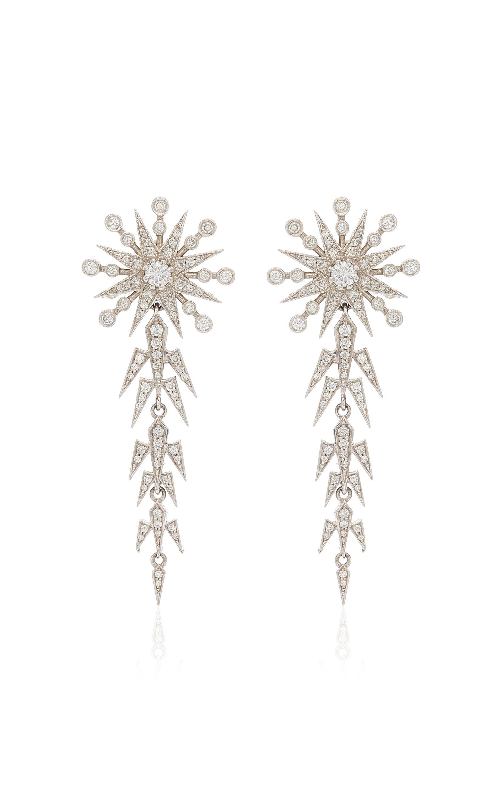 Women's Moon and Star 18K White Gold Pearl; Diamond Earrings