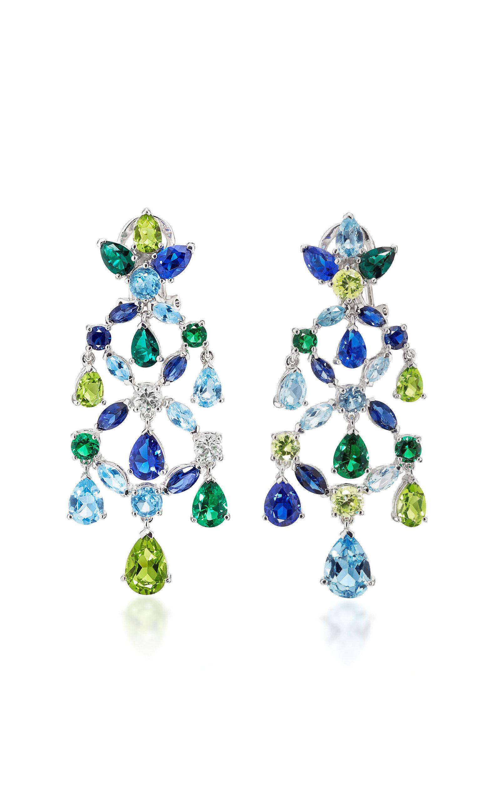 Women's 18K White Gold Multi-Stone Earrings