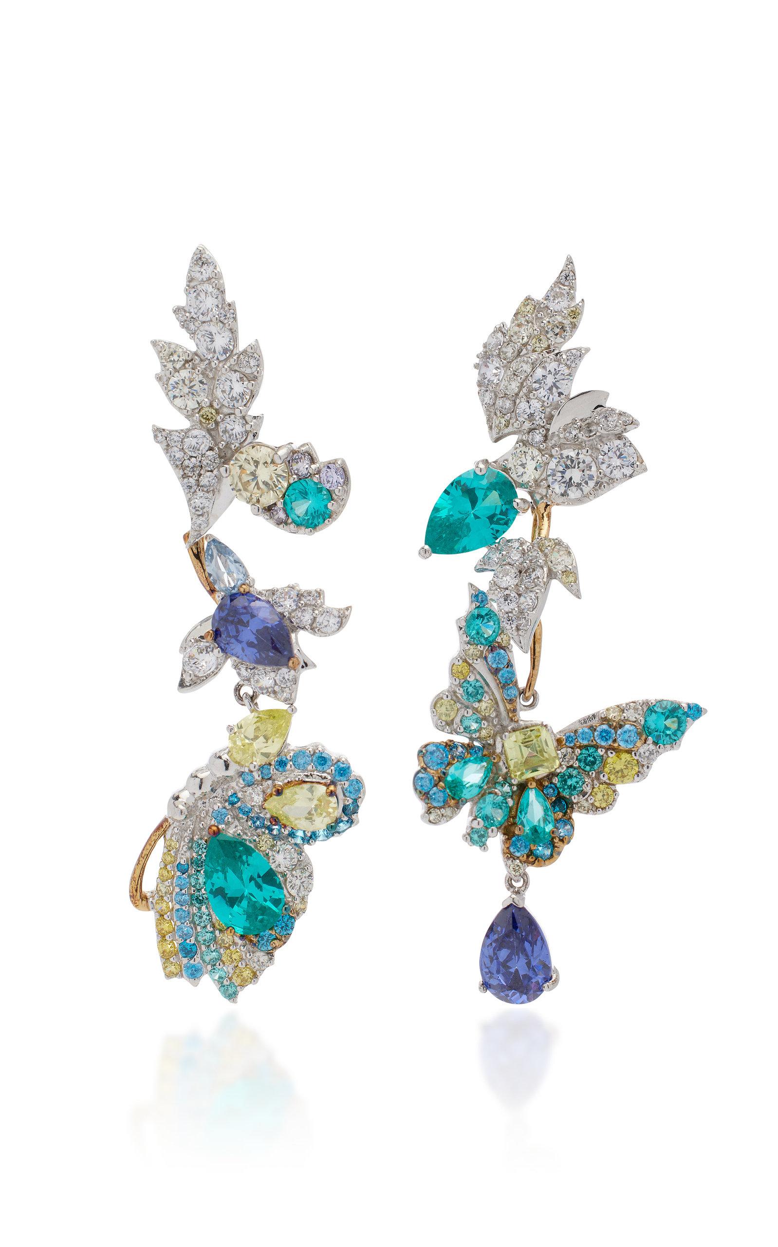 Women's Butterfly Garden Convertible 18K Gold Multi-Stone Earrings