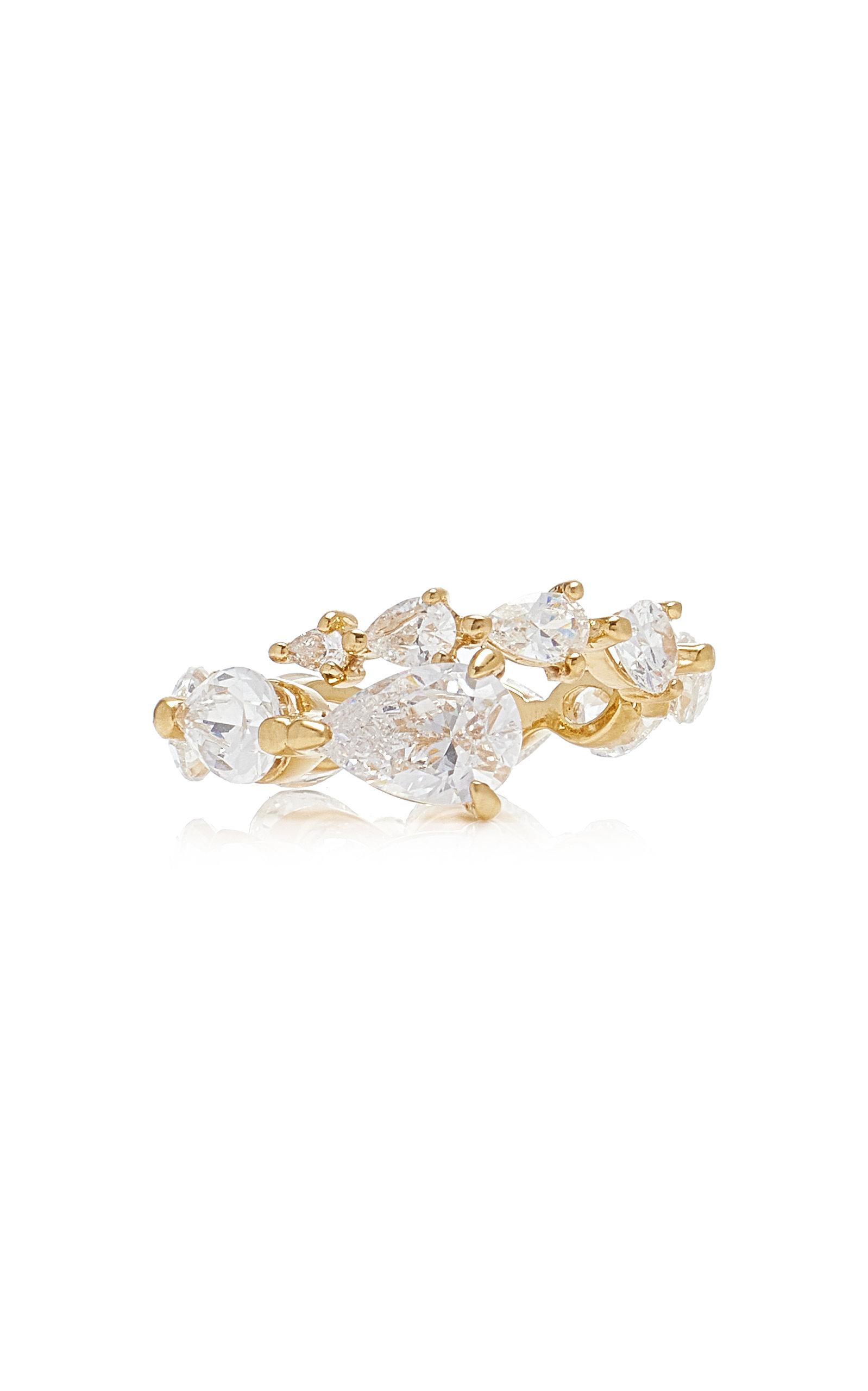 Women's Starburst 18K White Gold Vermeil Diamond Ring