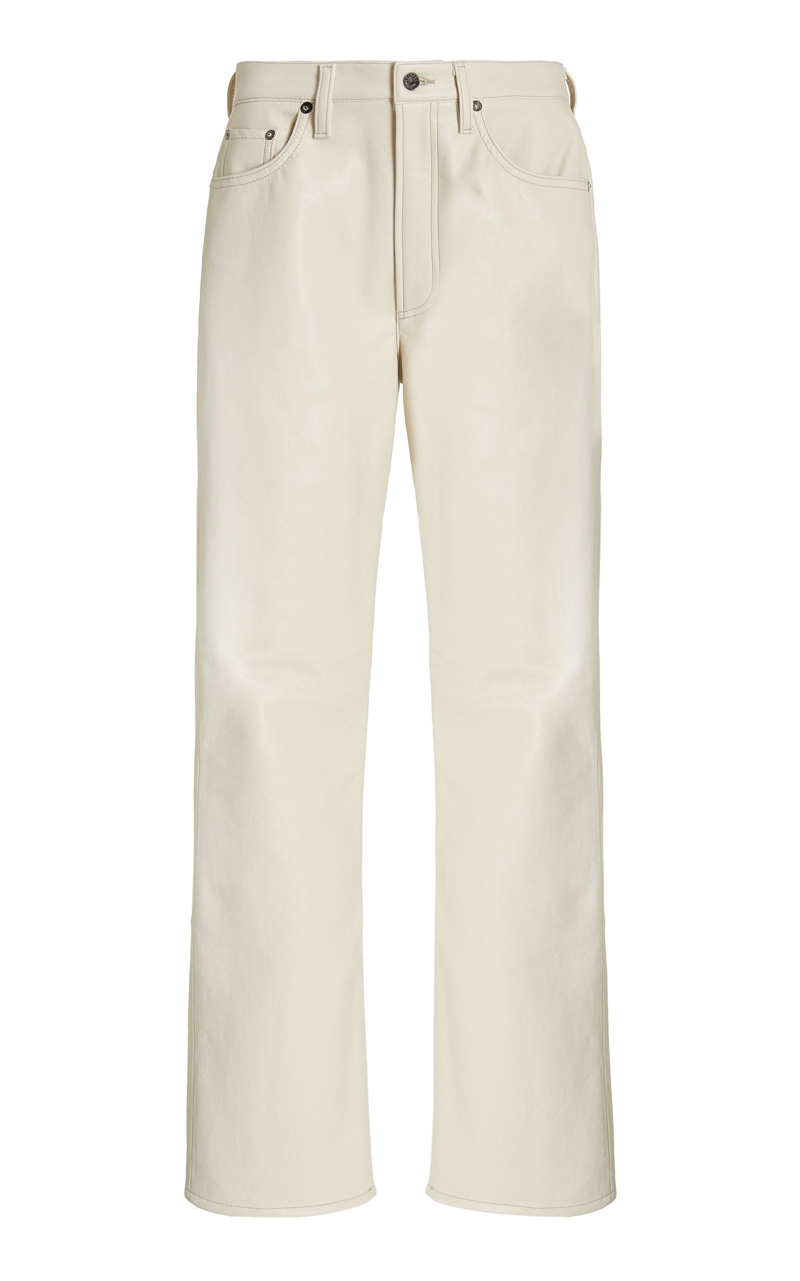 Agolde - Women's 90's Pinch-Waist High-Rise Recycled Leather Straight-Leg Pants - Neutral - Moda Operandi