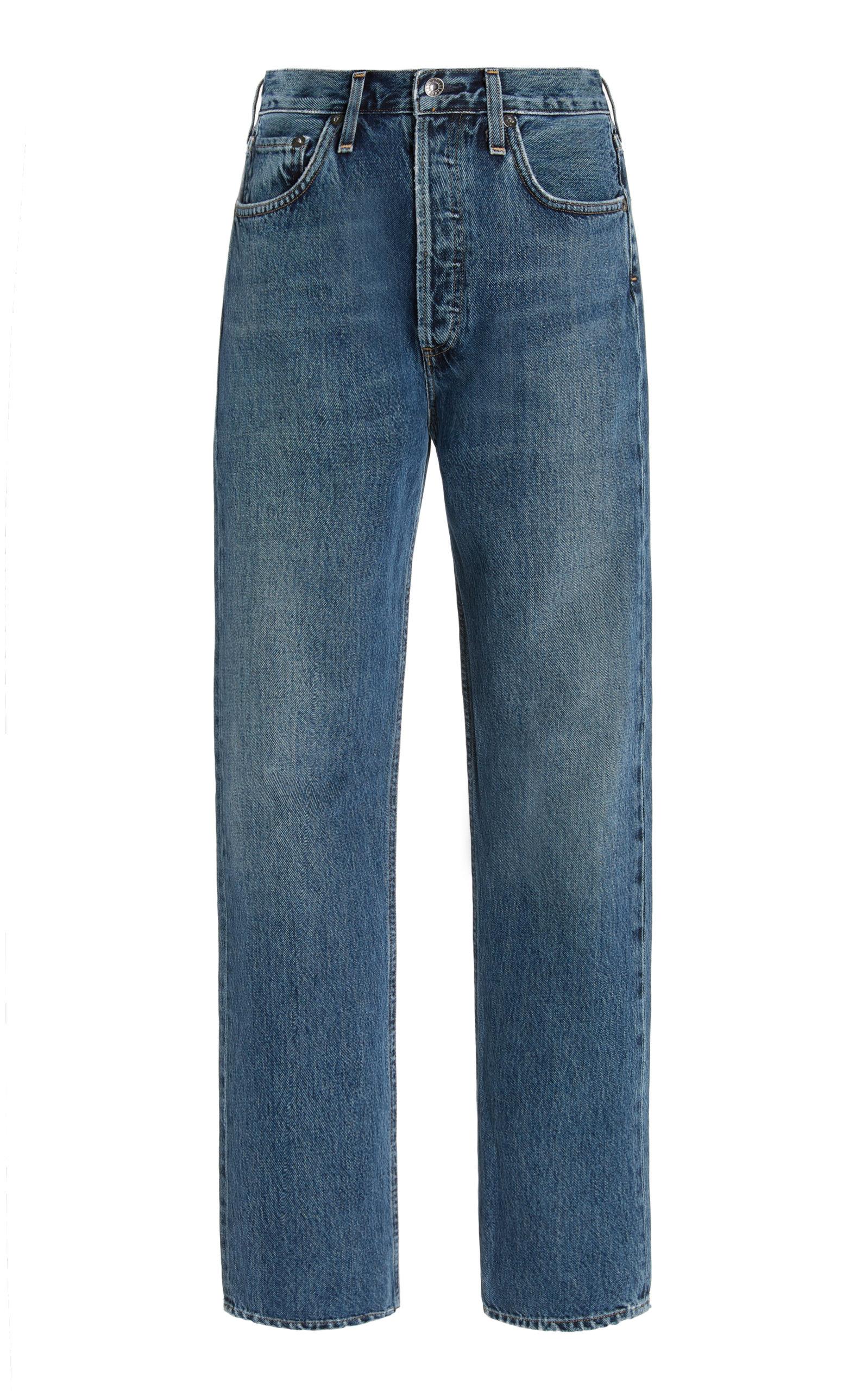 Agolde - Women's 90's Pinch-Waist Rigid High-Rise Organic Cotton Straight-Leg Jeans - Dark Wash - Moda Operandi