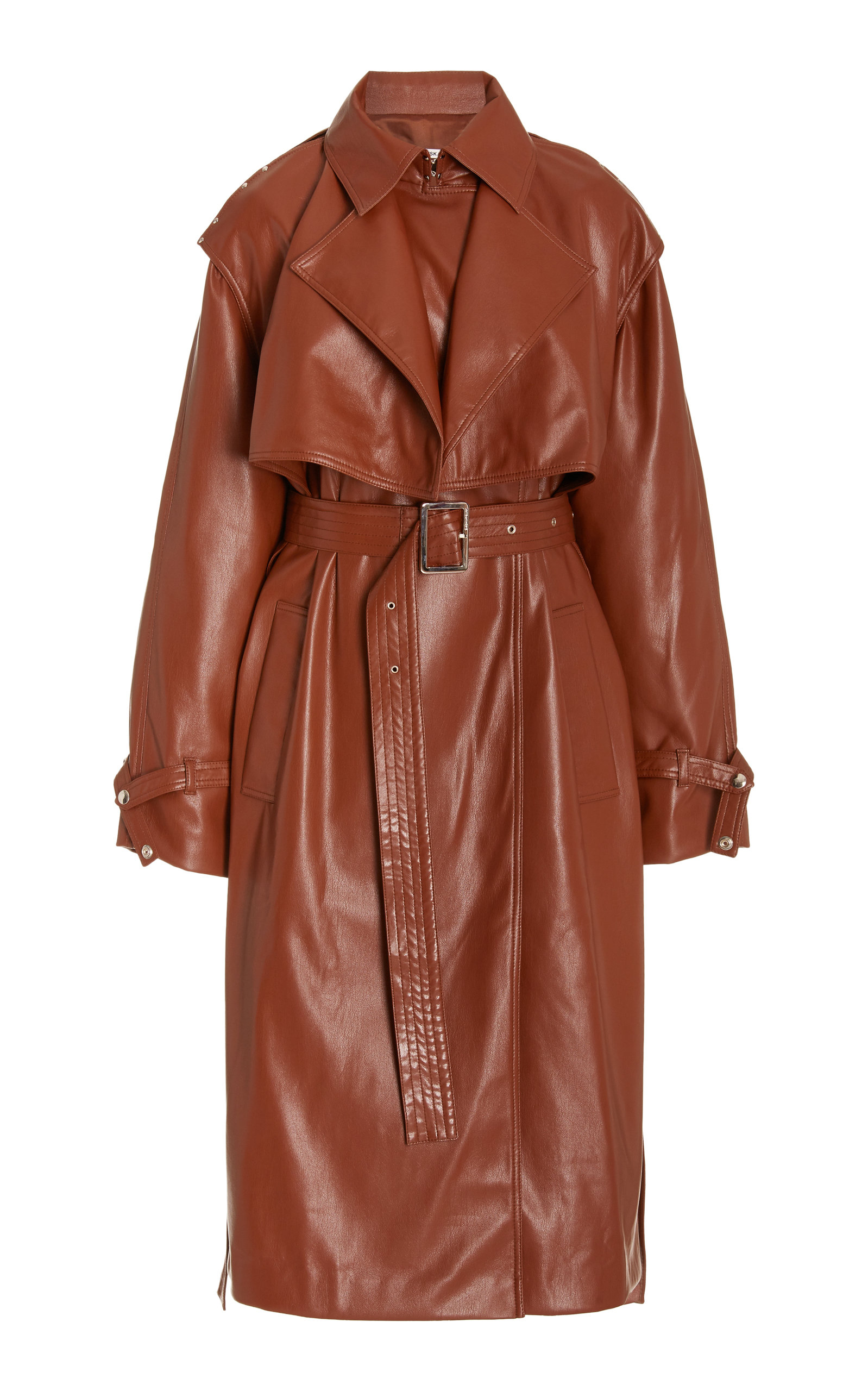 Women's Convertible Faux Leather Trench Coat