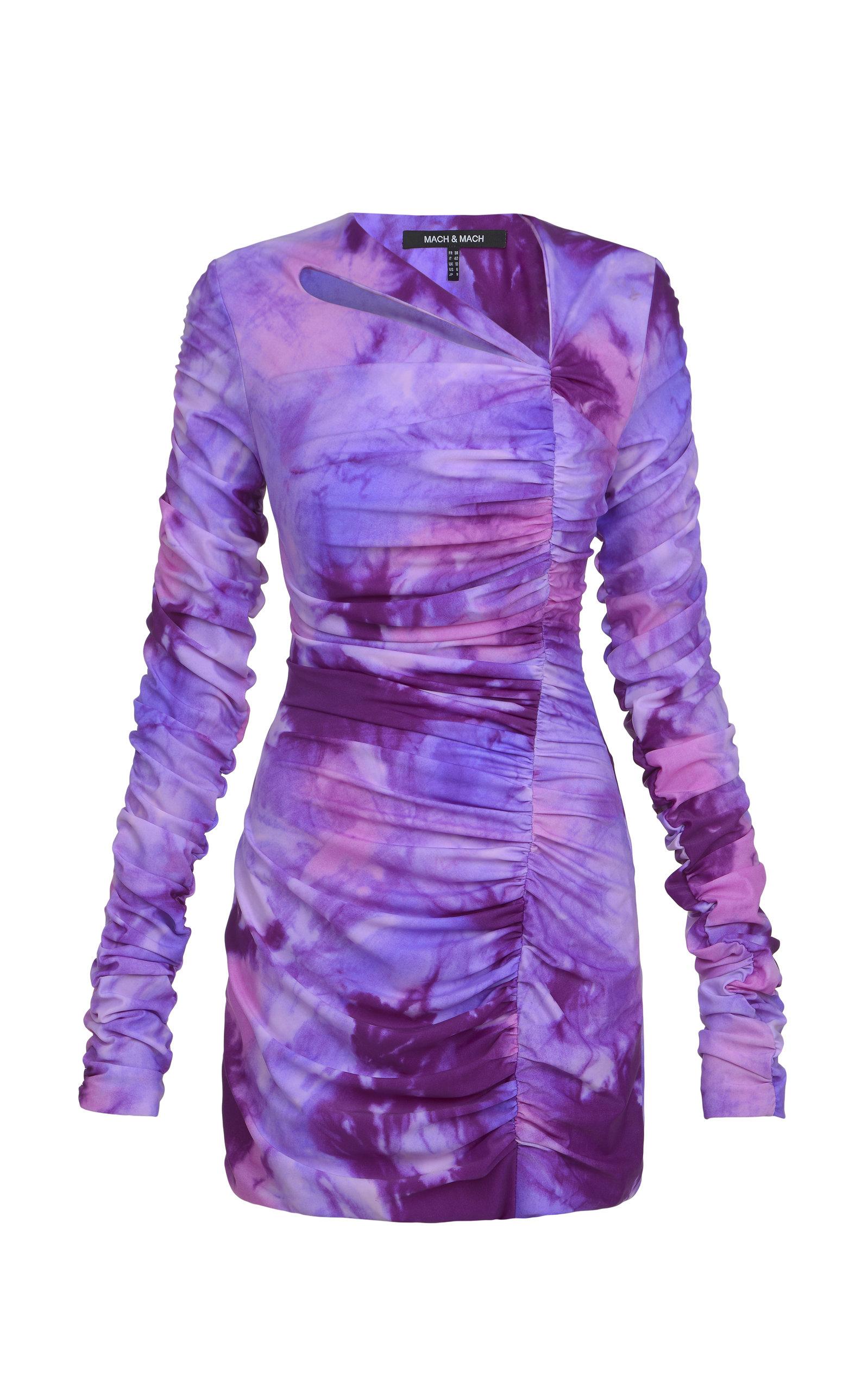 Women's Ruched Ombré Nylon-Blend Mini Dress