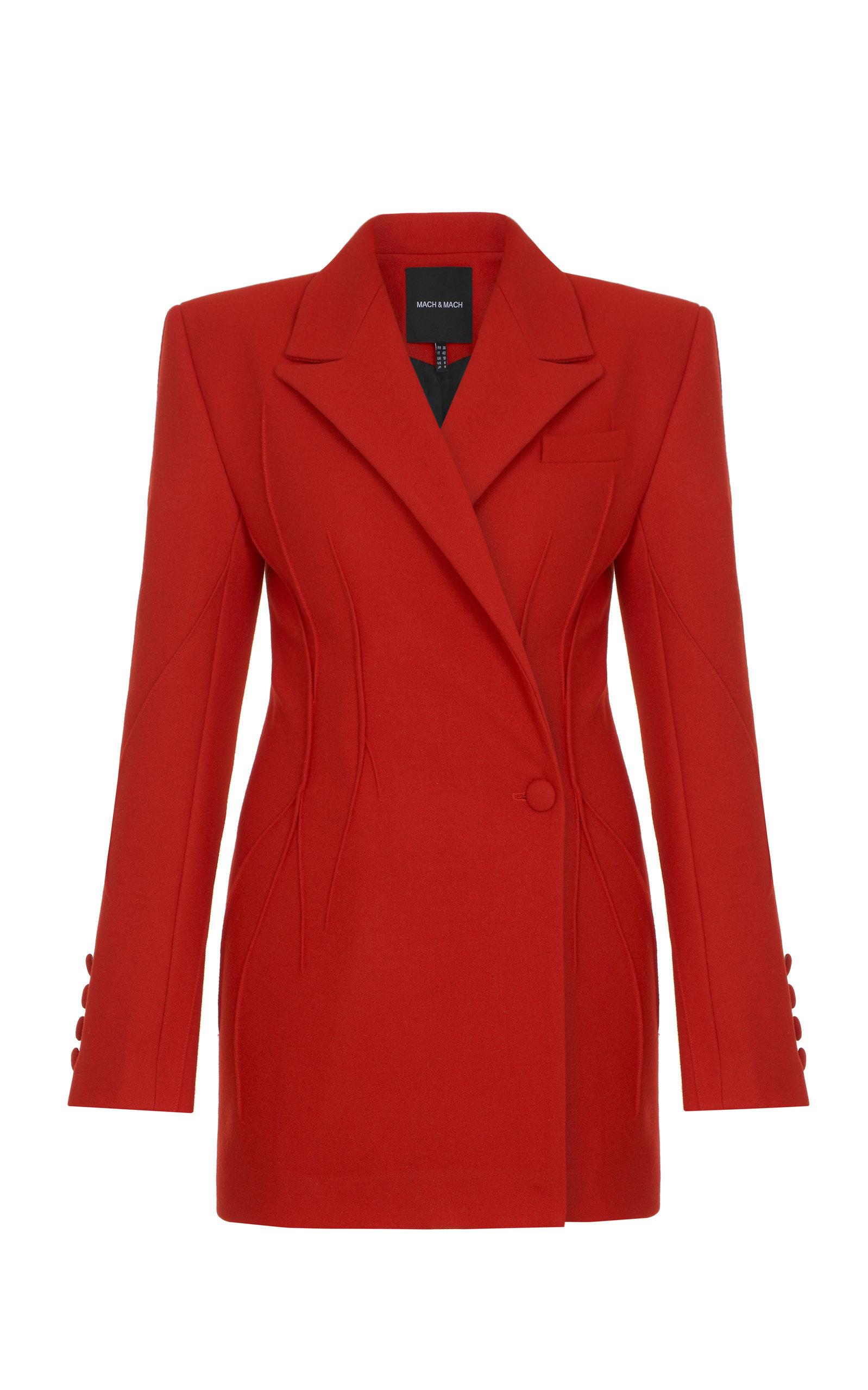 Women's Pleated Double-Breasted Wool-Blend Blazer