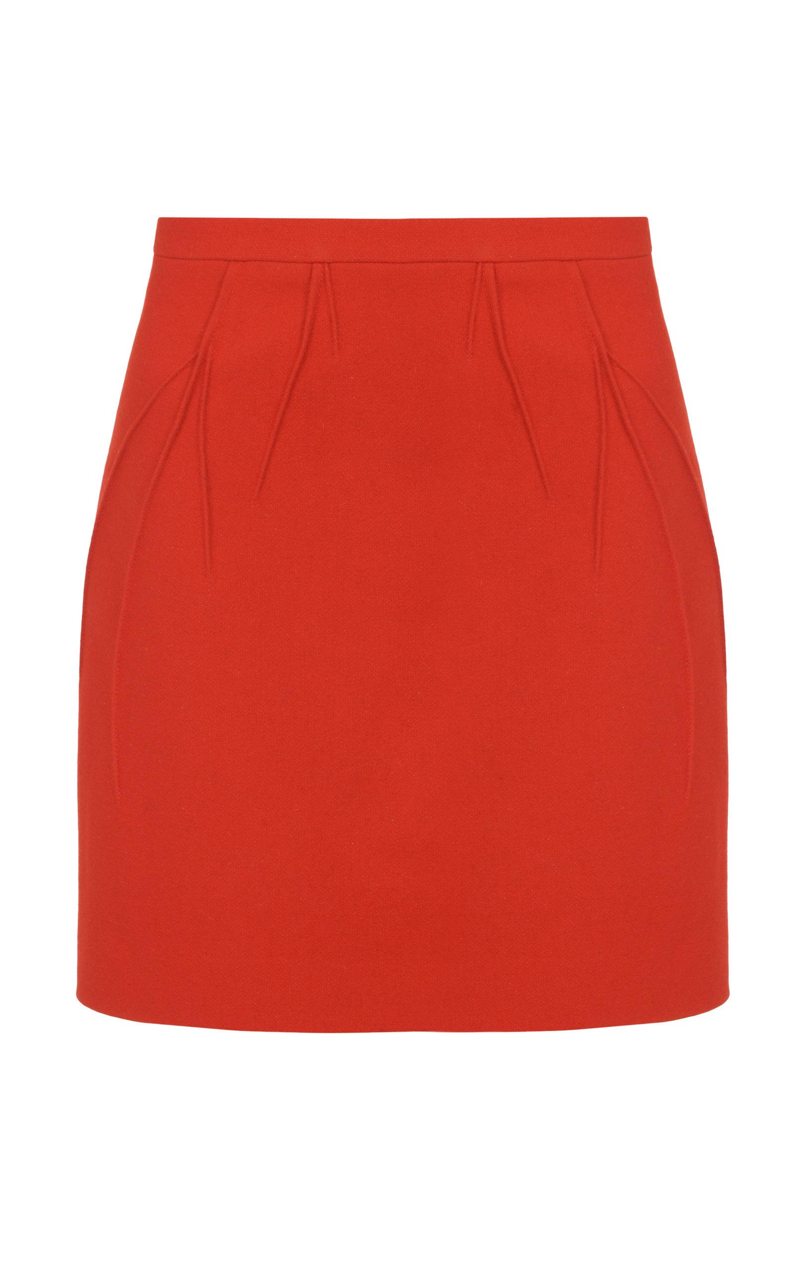 Women's Side-Slit Wool-Blend Mini Skirt