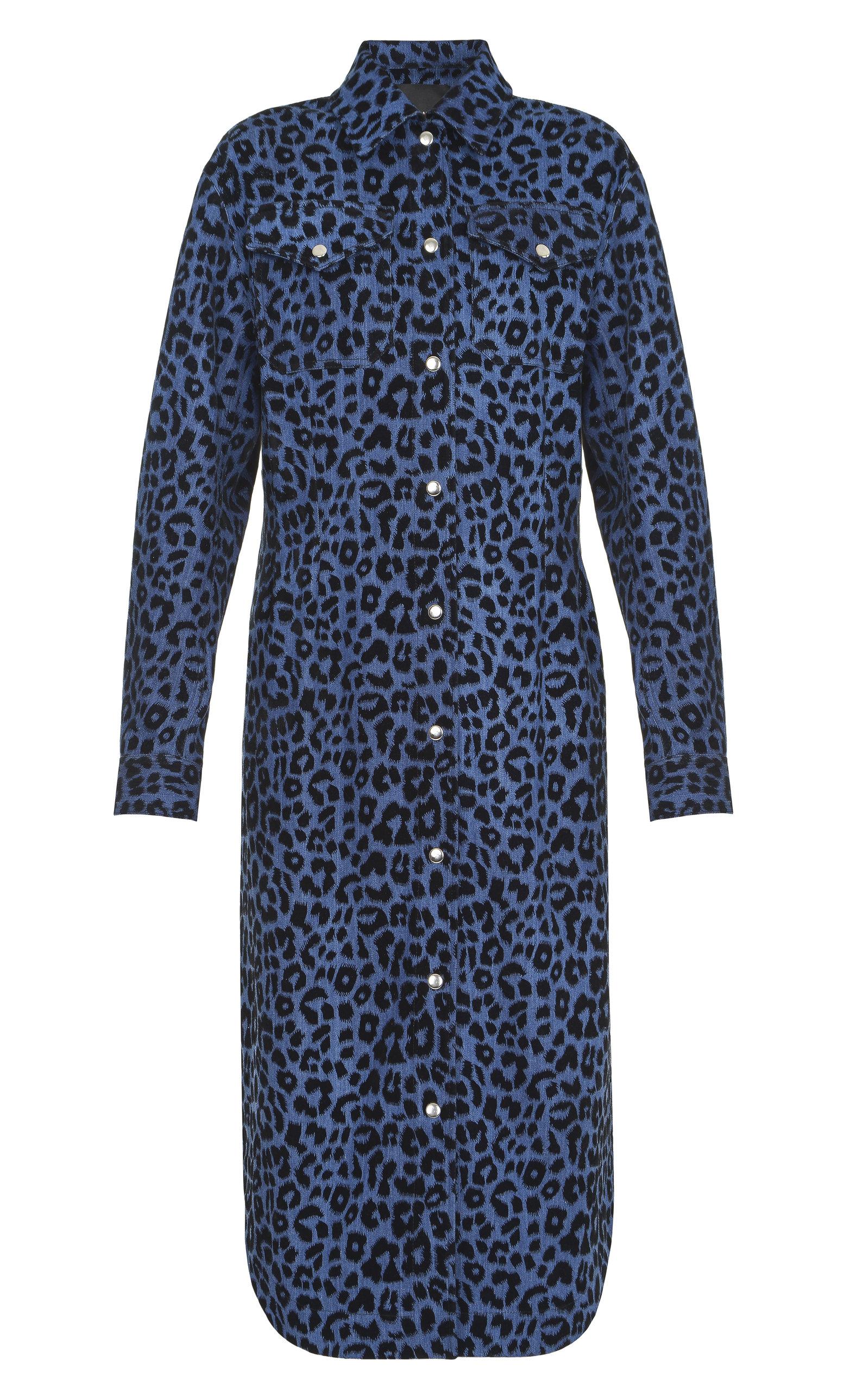 Women's Leopard Printed Cotton-Blend Longline Jacket
