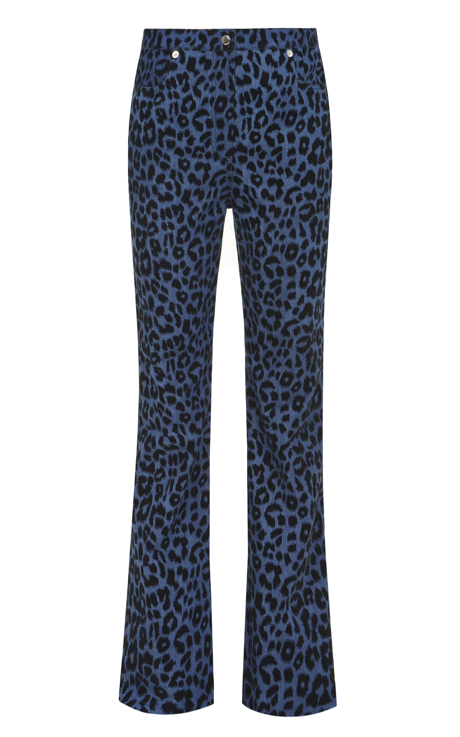 Women's Leopard Printed Stretch Mid-Rise Straight-Leg Jeans