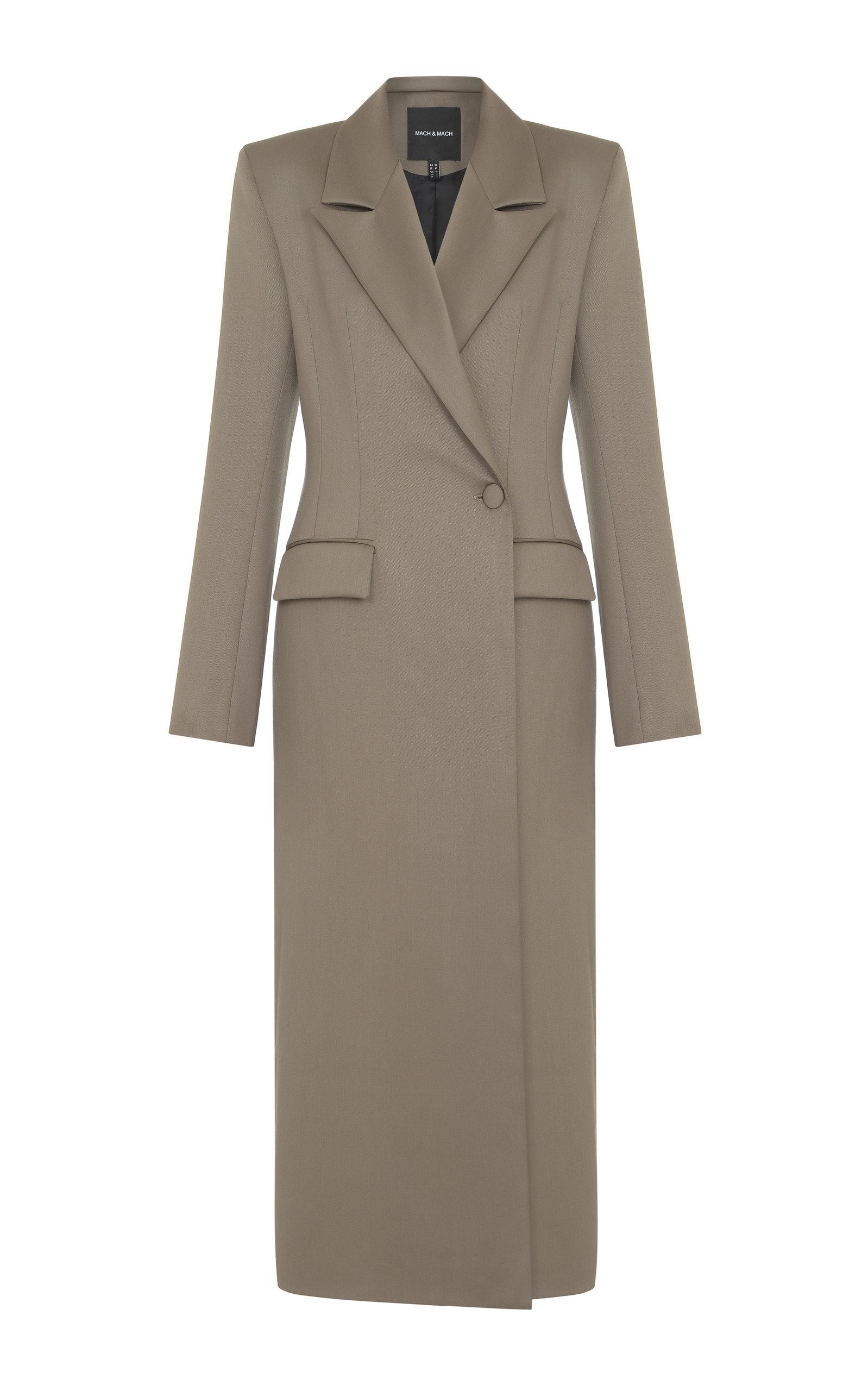 Women's Button-Detailed Wool Longline Coat