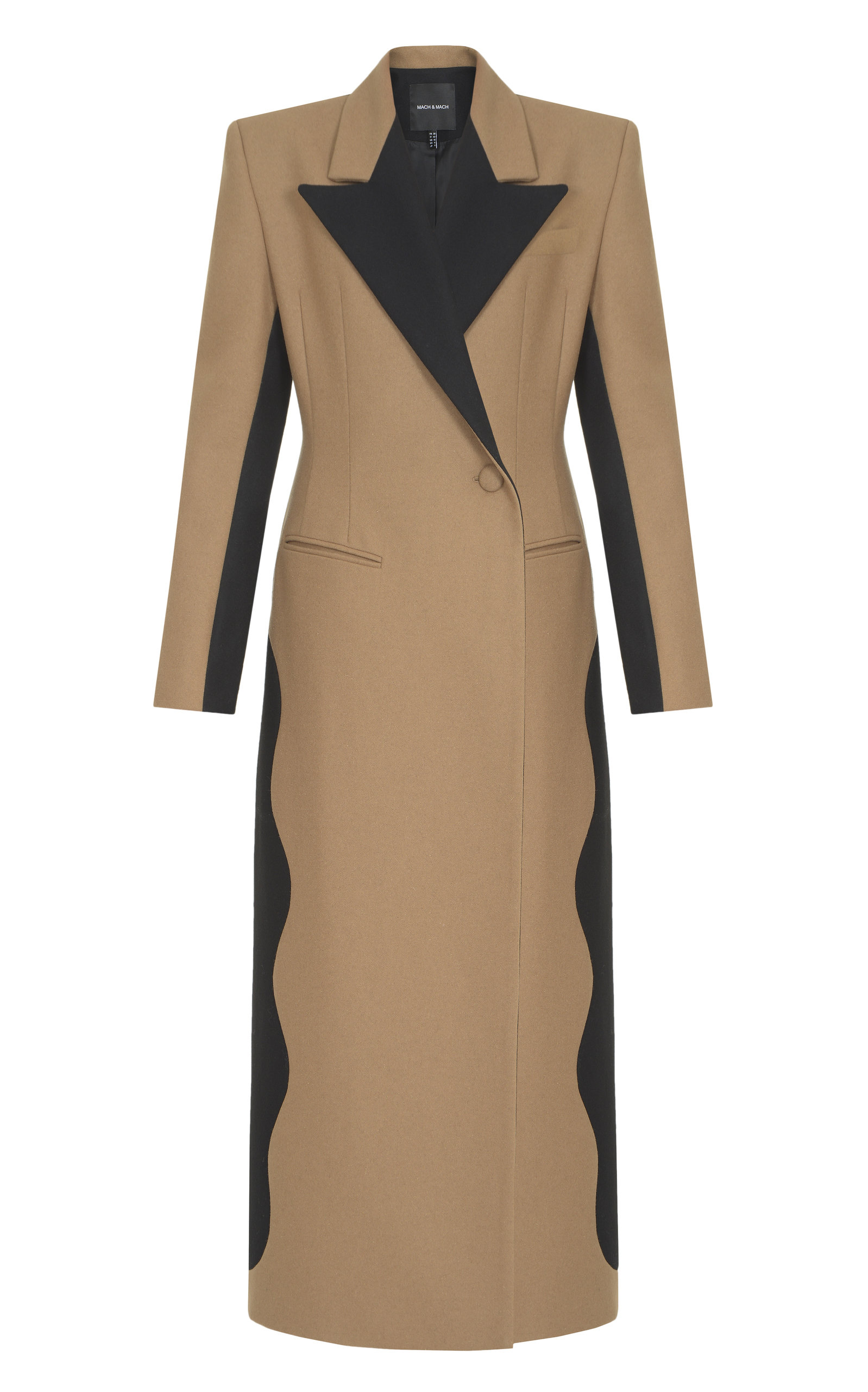 Women's Color-Blocked Wool-Blend Coat