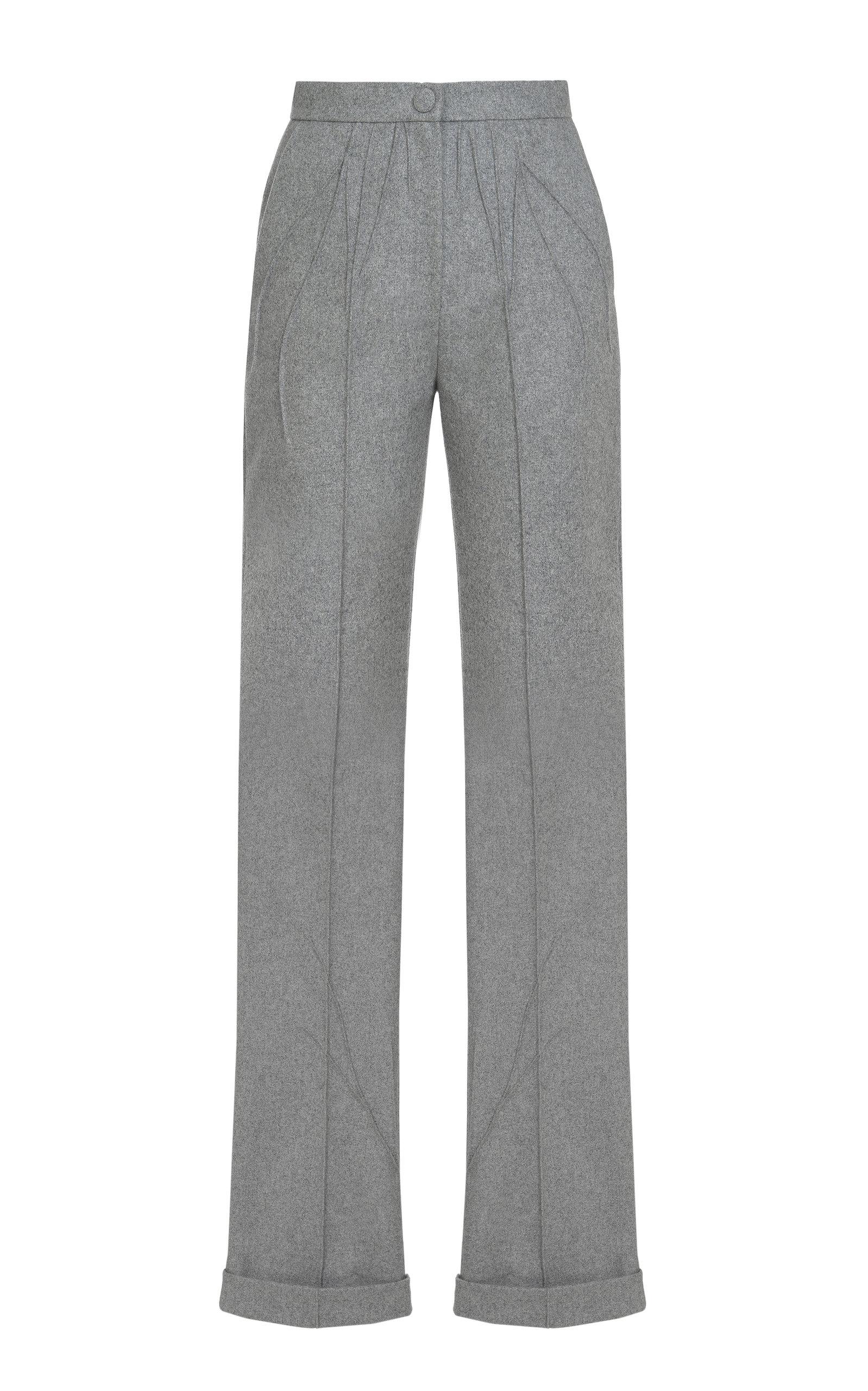 Women's Pleated Wool-Blend Straight-Leg Pants