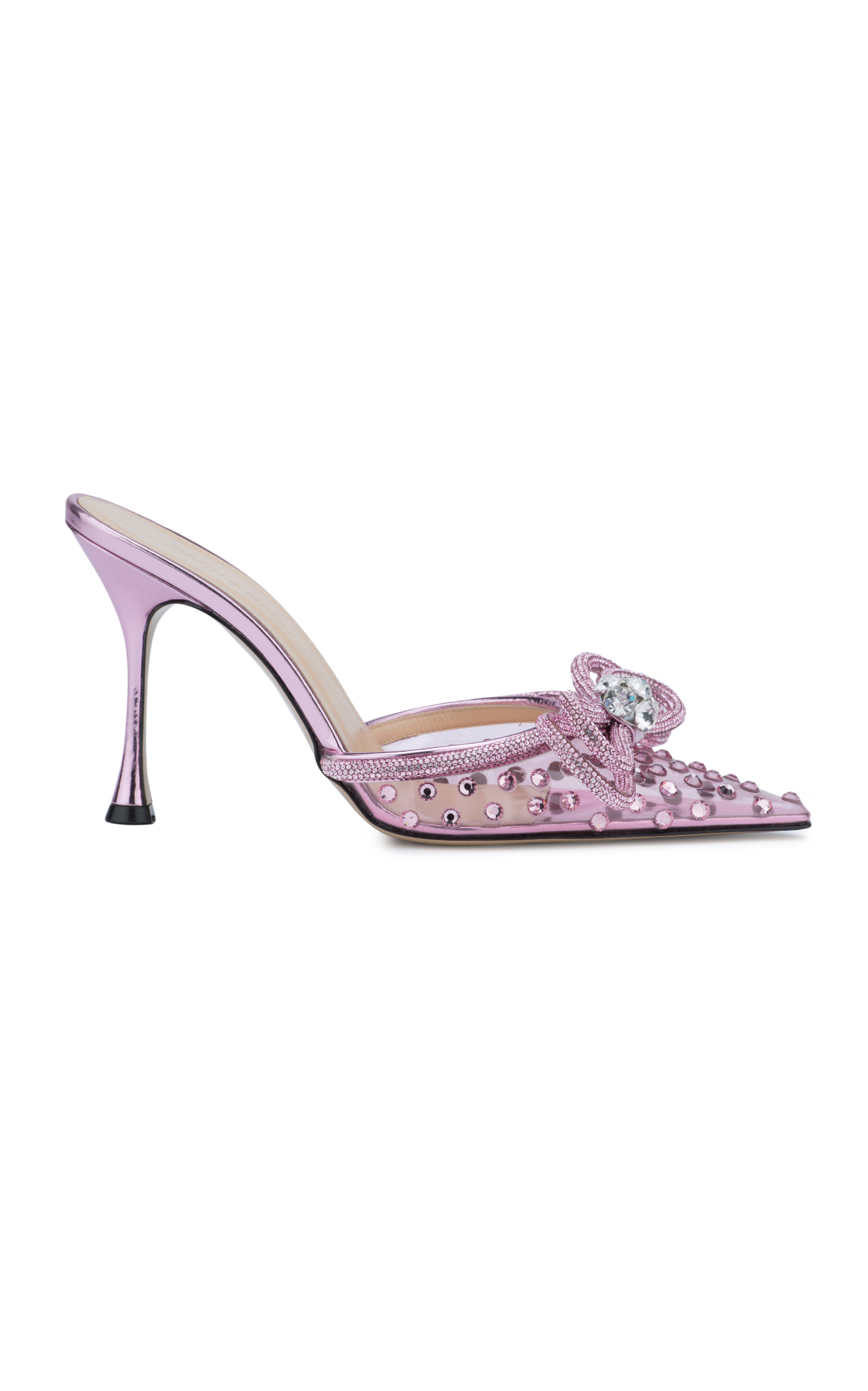 Women's Double-Bow Crystal-Embellished PVC Mules