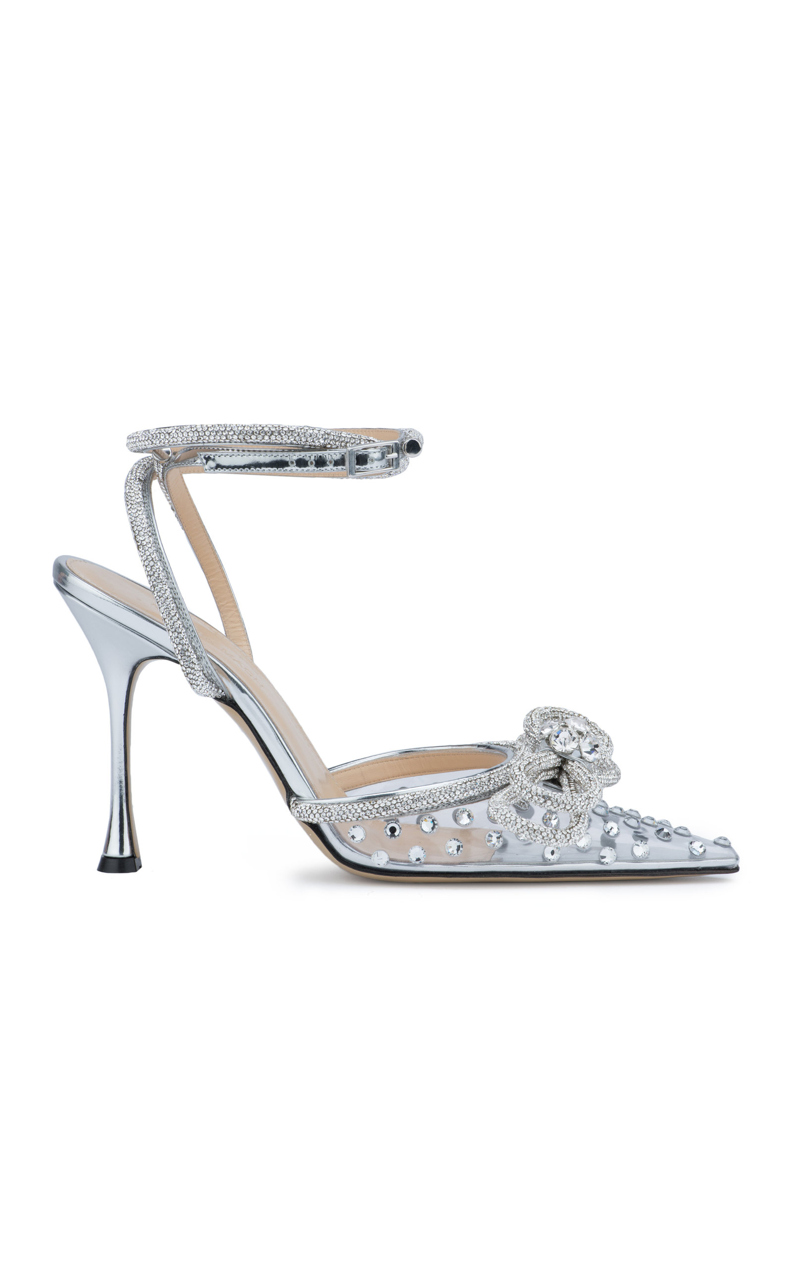 Mach & Mach - Women's Double-Bow Crystal-Embellished PVC Pumps - Silver - Moda Operandi