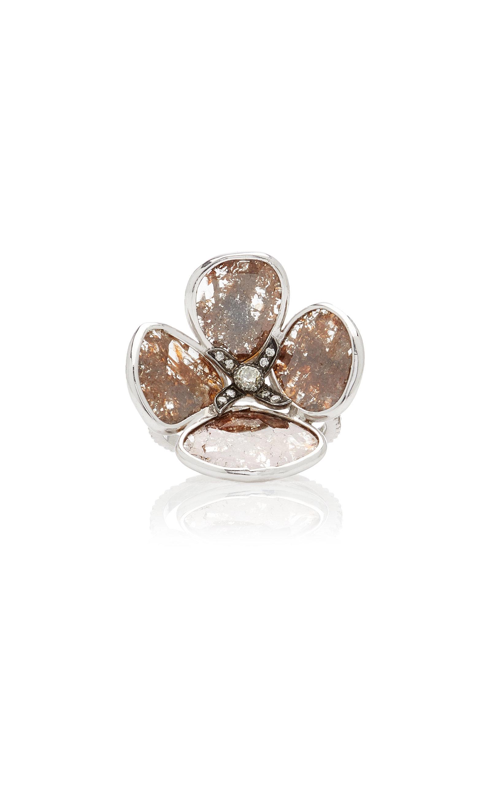 Women's 18K White Gold Sliced Diamond Ring