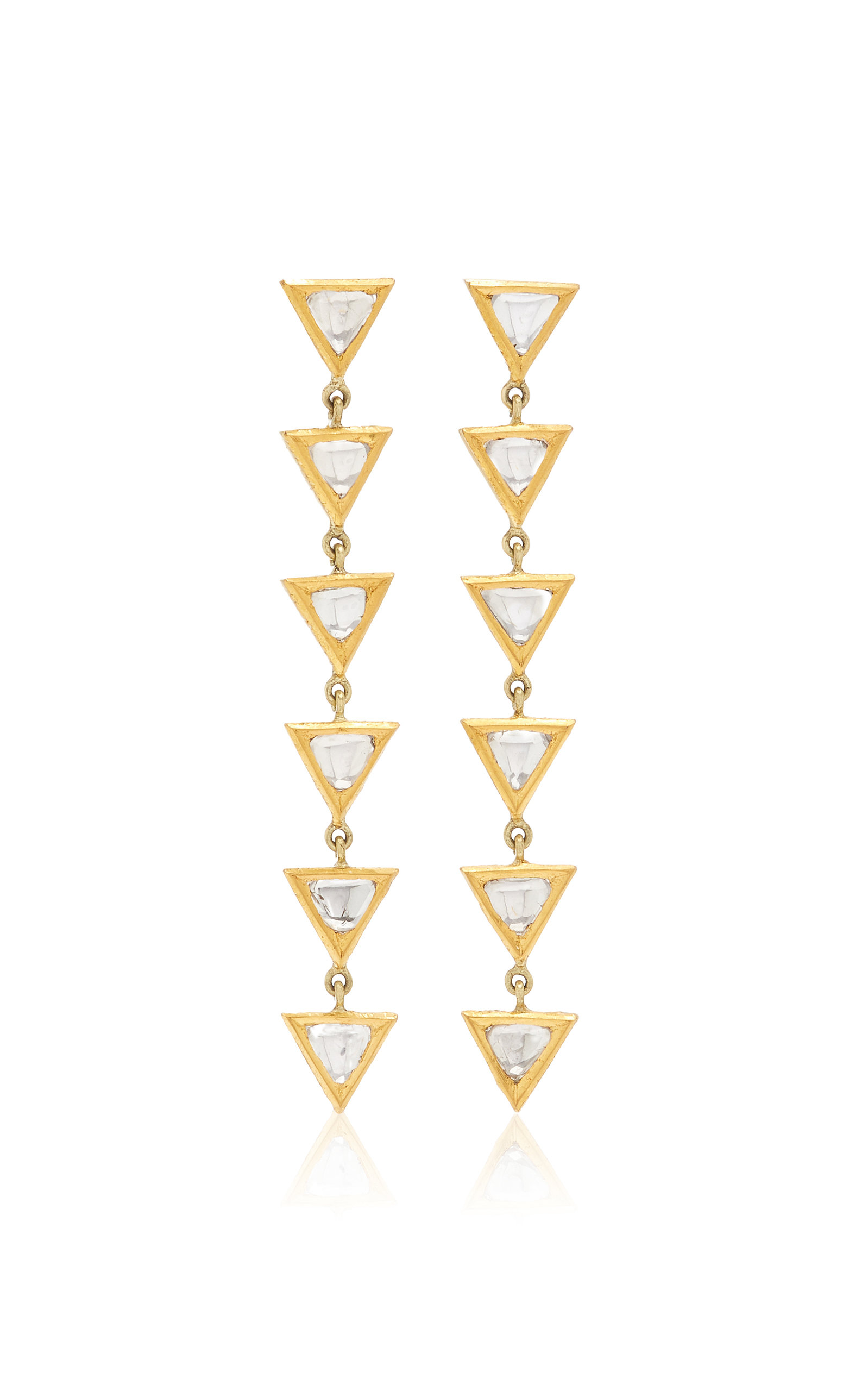 Women's Kundan 18k Yellow Gold Diamond Earrings