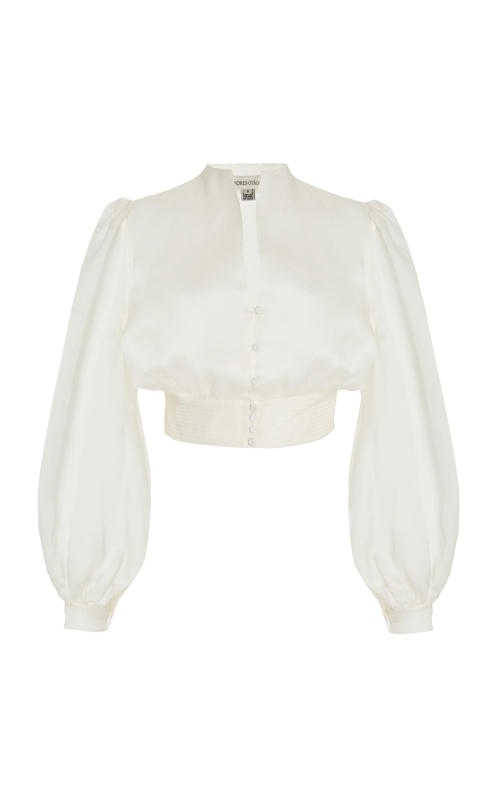 Women's Buenavista Puff-Sleeve Silk-Organza Cropped Top