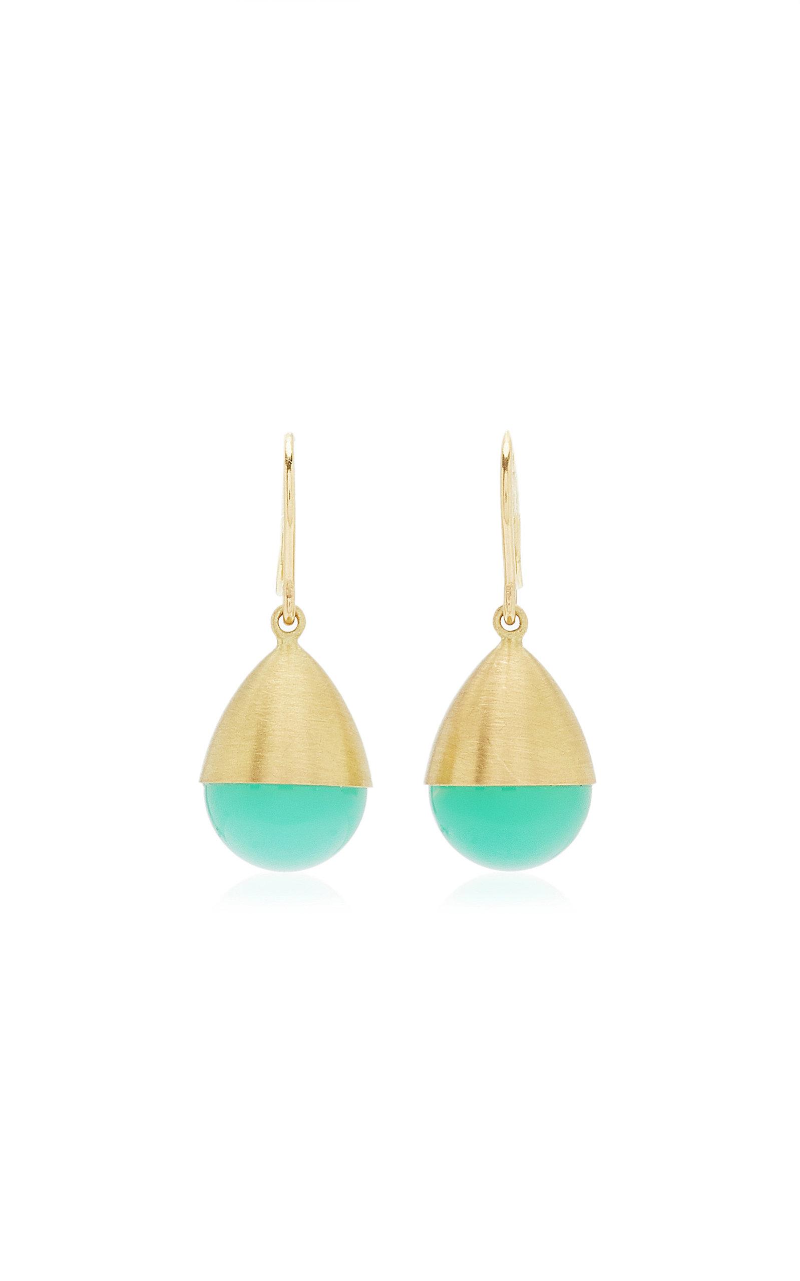 Women's Buoy 18K Yellow Gold Chrysoprase Earrings