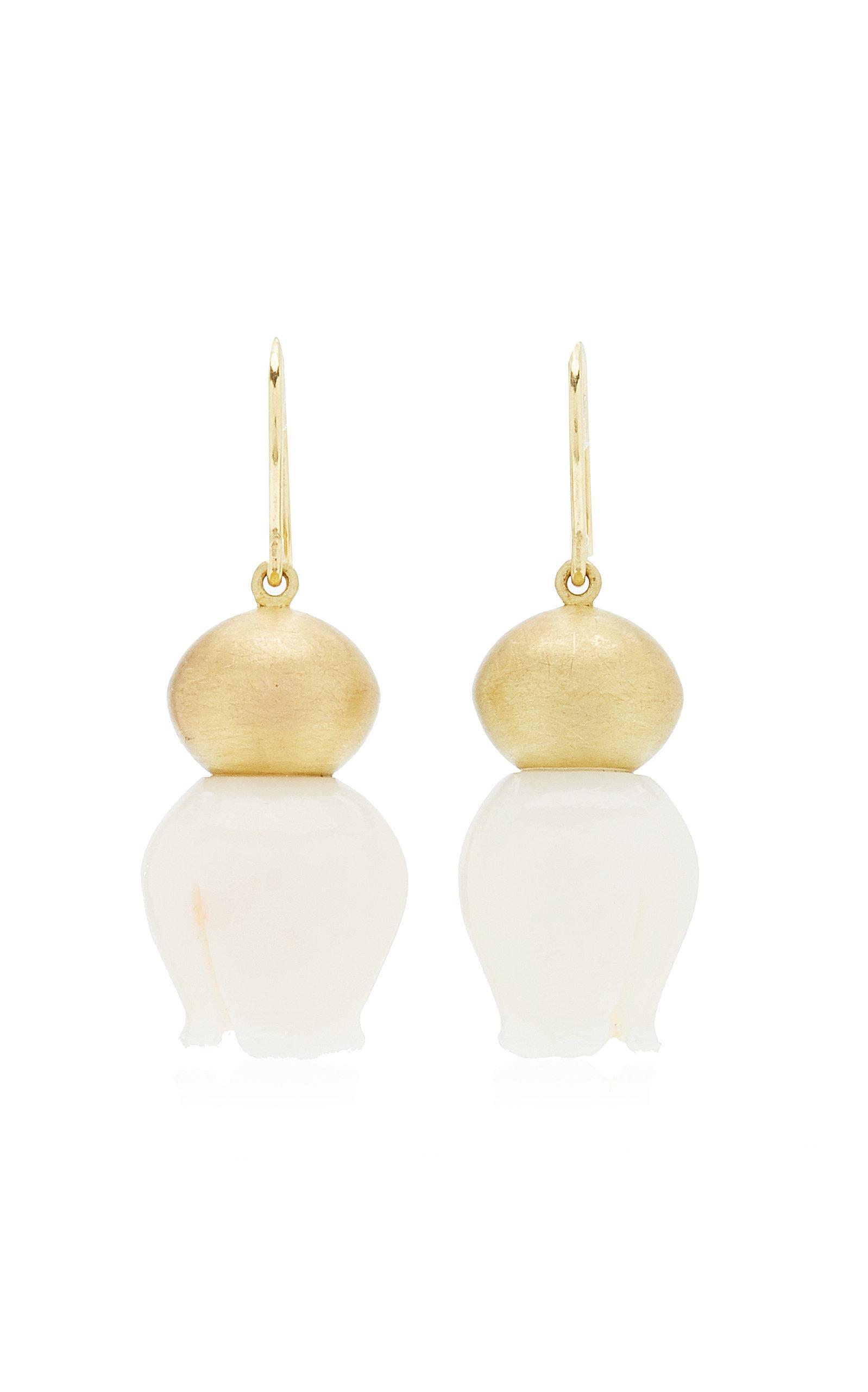 Women's Buoy 18K Yellow Gold Coral Earrings