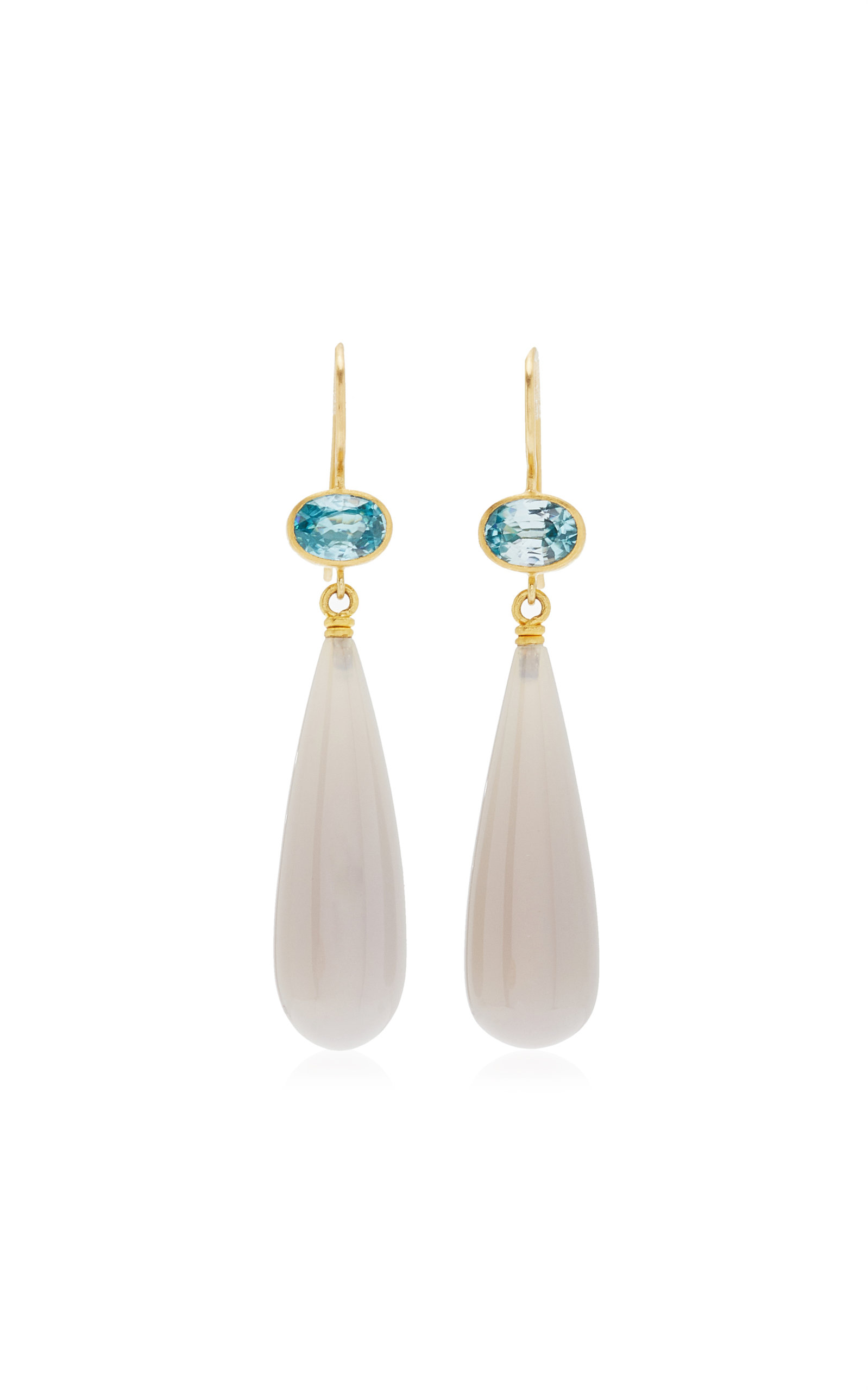 Mallary Marks - Women's Apple and Eve 22K Yellow Gold Zircon; Agate Earrings - Multi - Moda Operandi