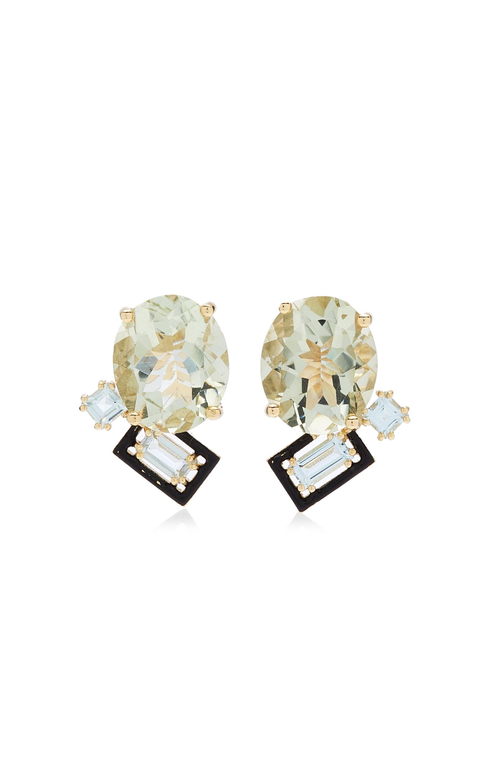 Women's Mediterranean Garden Treasure 14K Yellow Gold Amethyst; Topaz Earrings