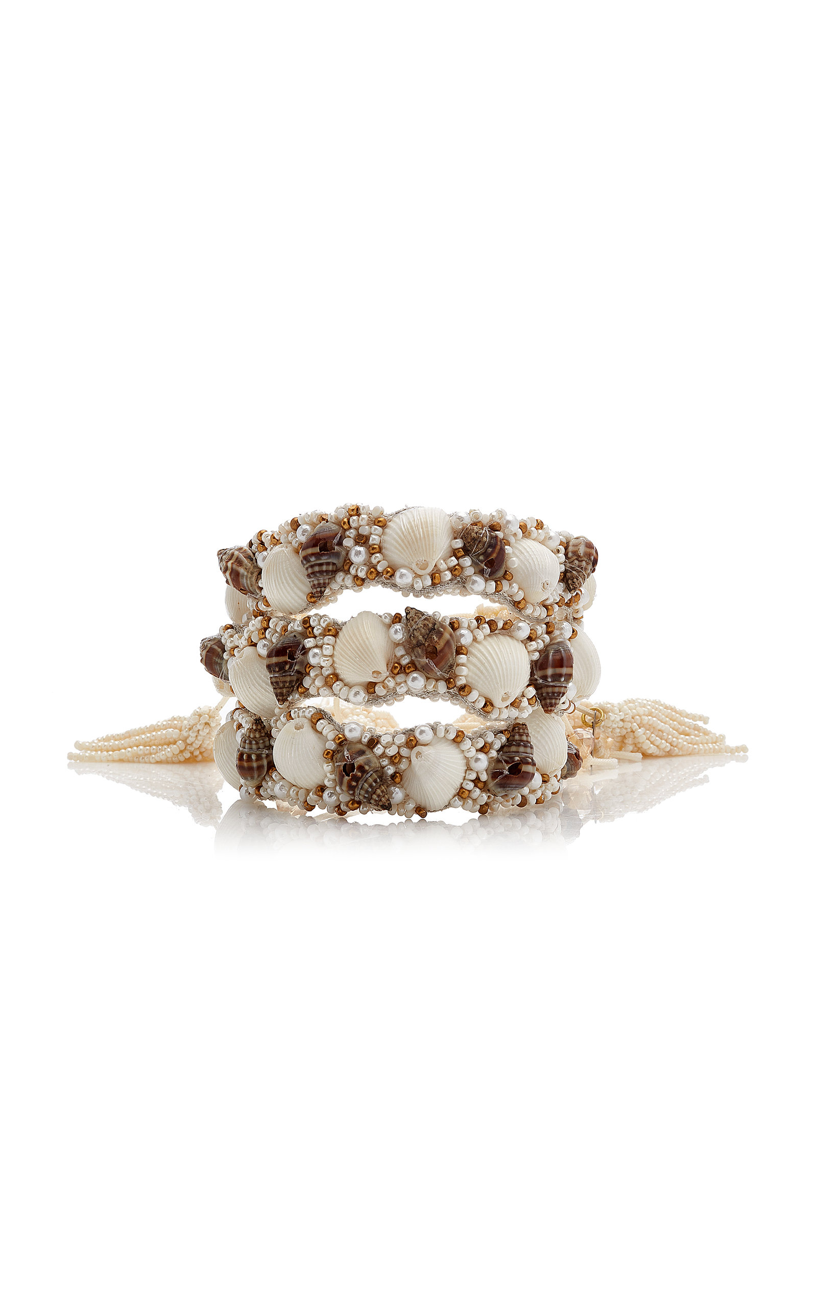 Women's Exclusive Set-Of-Three Beaded Leather and Shell Bracelets